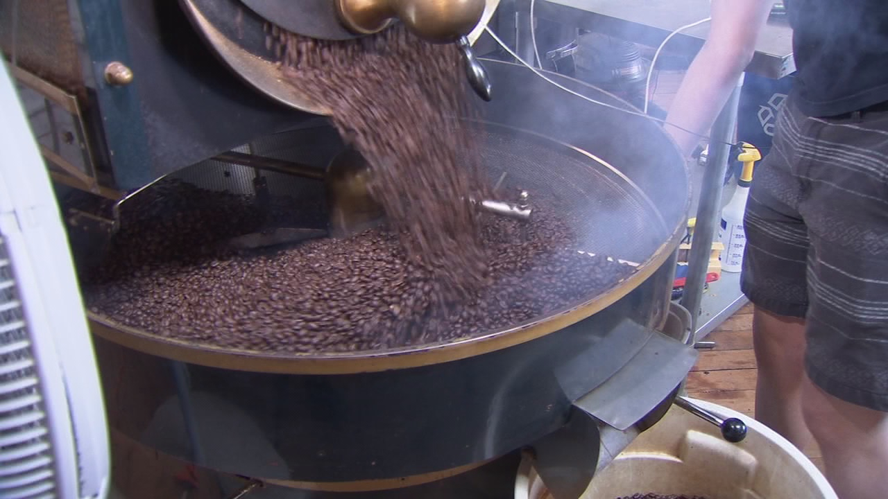 FILE - Image of coffee being roasted in Fresno