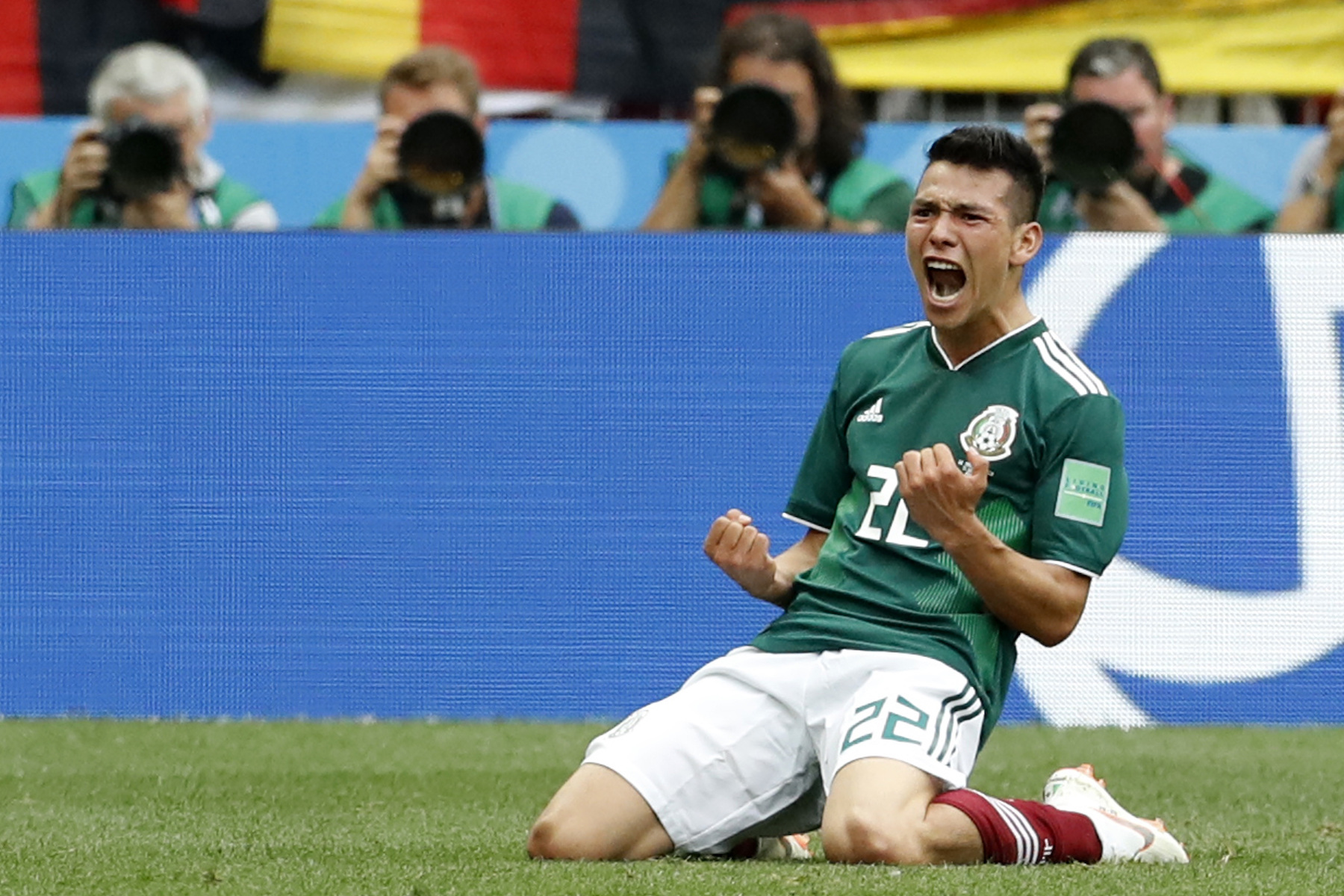 "<div class=""meta image-caption""><div class=""origin-logo origin-image ap""><span>AP</span></div><span class=""caption-text"">Mexico's Hirving Lozano, celebrates scoring his side's opening goal during the group F match between Germany and Mexico at the 2018 soccer World Cup in the Luzhniki Stadium. (AP Photo/Antonio Calanni)</span></div>"