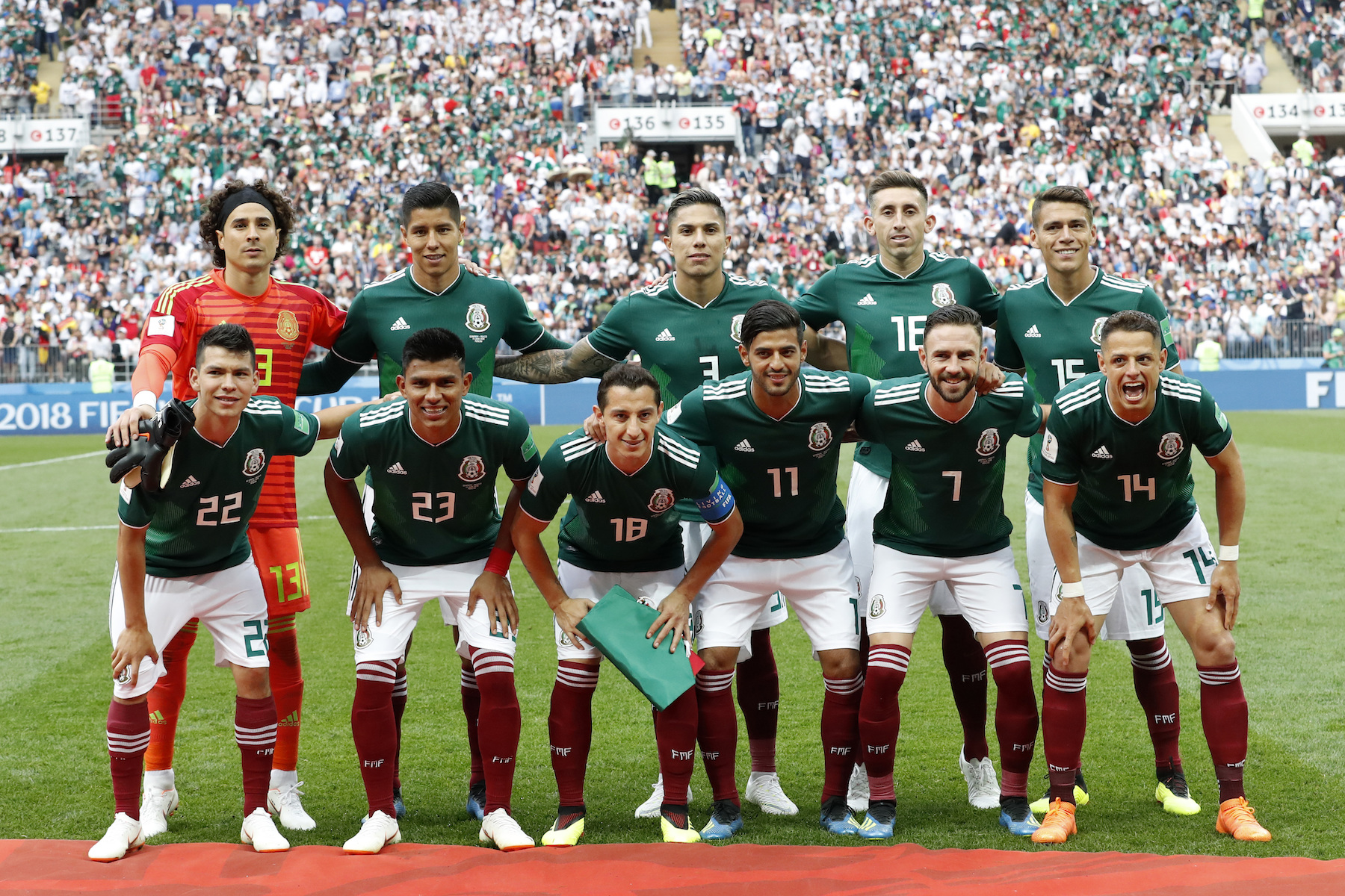<div class='meta'><div class='origin-logo' data-origin='AP'></div><span class='caption-text' data-credit='AP Photo/Antonio Calanni'>Mexico team players pose prior to the start of the group F match between Germany and Mexico at the 2018 soccer World Cup in the Luzhniki Stadium in Moscow, Russia.</span></div>