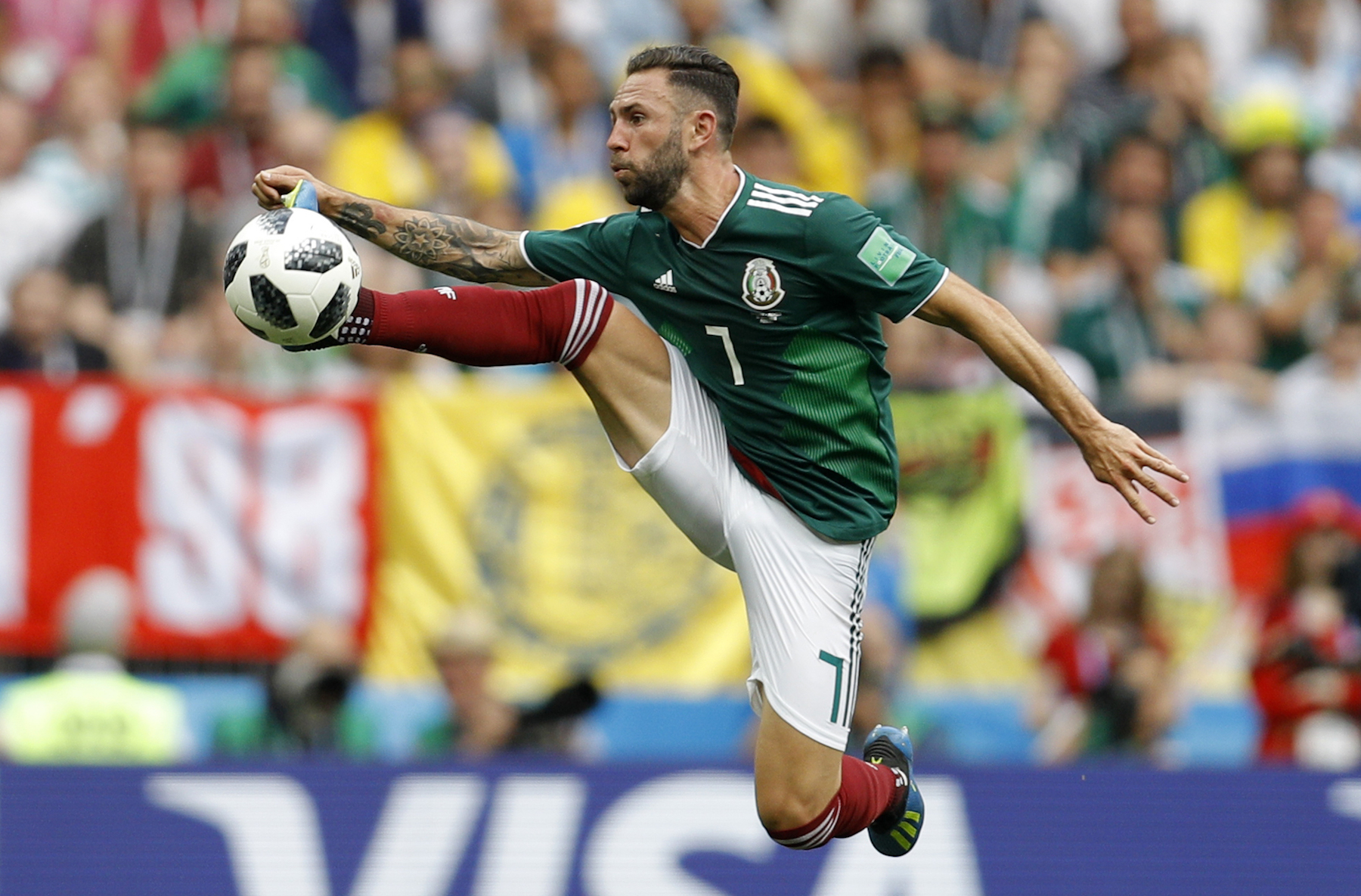 <div class='meta'><div class='origin-logo' data-origin='AP'></div><span class='caption-text' data-credit='AP Photo/Victor R. Caivano'>Mexico's Miguel Layun controls the ball during the group F match between Germany and Mexico at the 2018 soccer World Cup in the Luzhniki Stadium.</span></div>