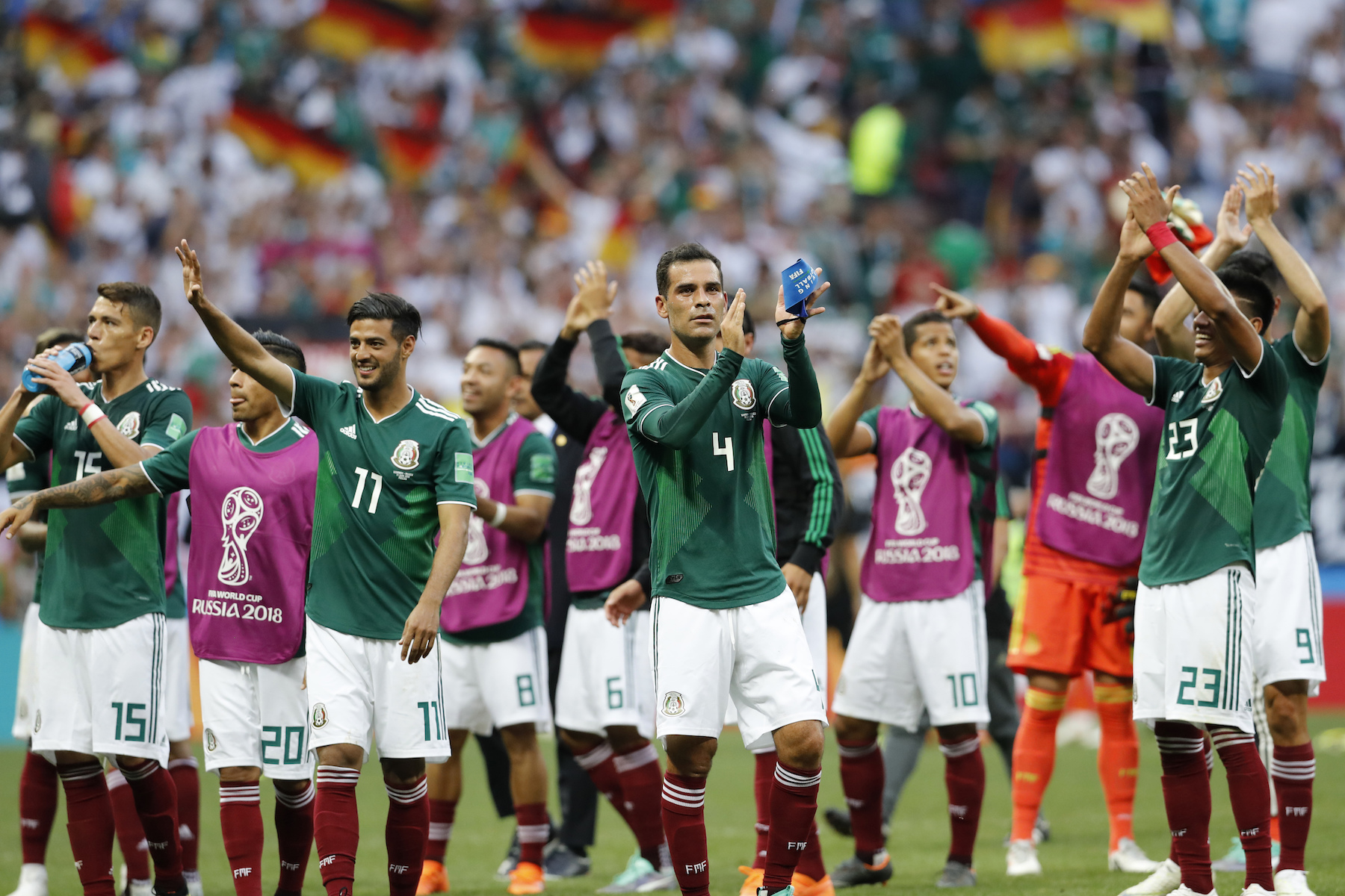<div class='meta'><div class='origin-logo' data-origin='AP'></div><span class='caption-text' data-credit='AP Photo/Antonio Calanni'>Mexico's Rafael Marquez, center and his teammates celebrate after winning the group F match between Germany and Mexico at the 2018 soccer World Cup.</span></div>