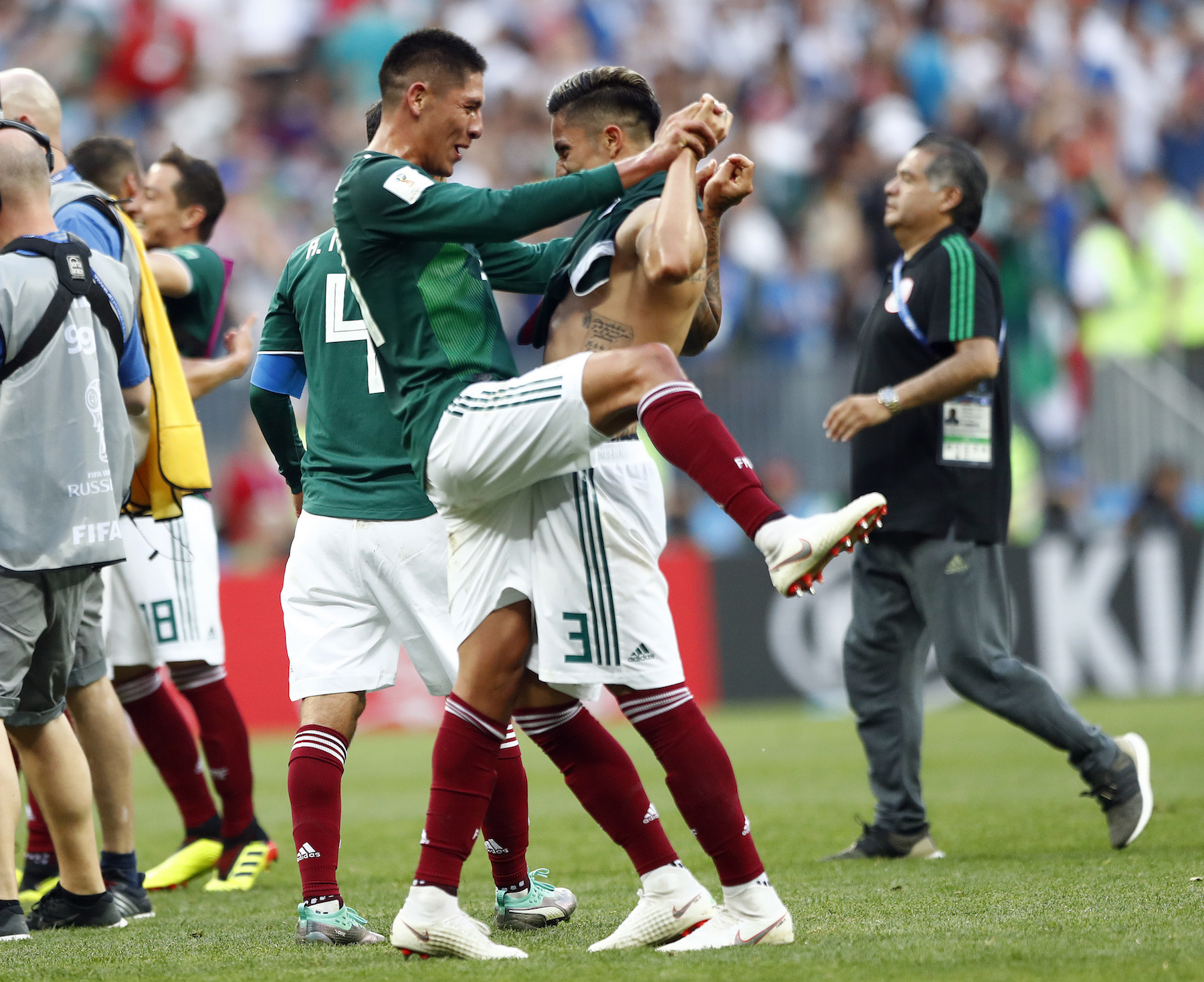 "<div class=""meta image-caption""><div class=""origin-logo origin-image ap""><span>AP</span></div><span class=""caption-text"">Mexico players celebrate after winning the group F match between Germany and Mexico at the 2018 soccer World Cup in the Luzhniki Stadium in Moscow, Russia. (AP Photo/Matthias Schrader)</span></div>"