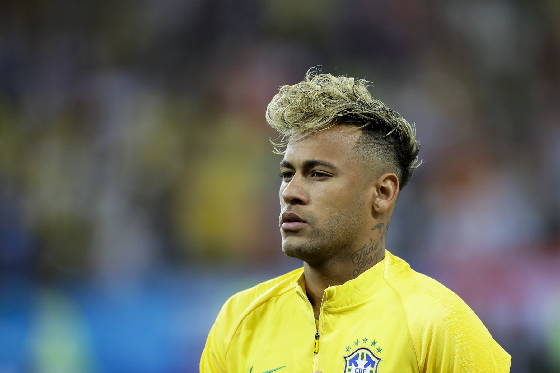 "<div class=""meta image-caption""><div class=""origin-logo origin-image ap""><span>AP</span></div><span class=""caption-text"">Brazil's Neymar lines up prior to the group E match against Switzerland at the 2018 soccer World Cup in the Rostov Arena in Rostov-on-Don, Russia, Sunday, June 17, 2018. (AP Photo/Andre Penner)</span></div>"