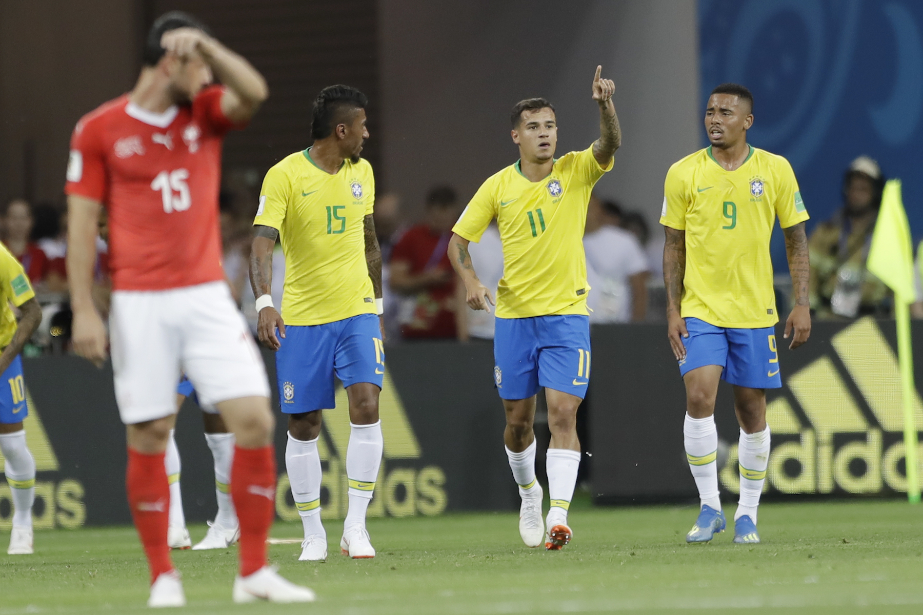 "<div class=""meta image-caption""><div class=""origin-logo origin-image ap""><span>AP</span></div><span class=""caption-text"">Brazil's Philippe Coutinho, second from right, celebrates scoring his side first goal against Switzerland during a group E match at the 2018 soccer World Cup in the Rostov Arena. (AP Photo/Andre Penner)</span></div>"