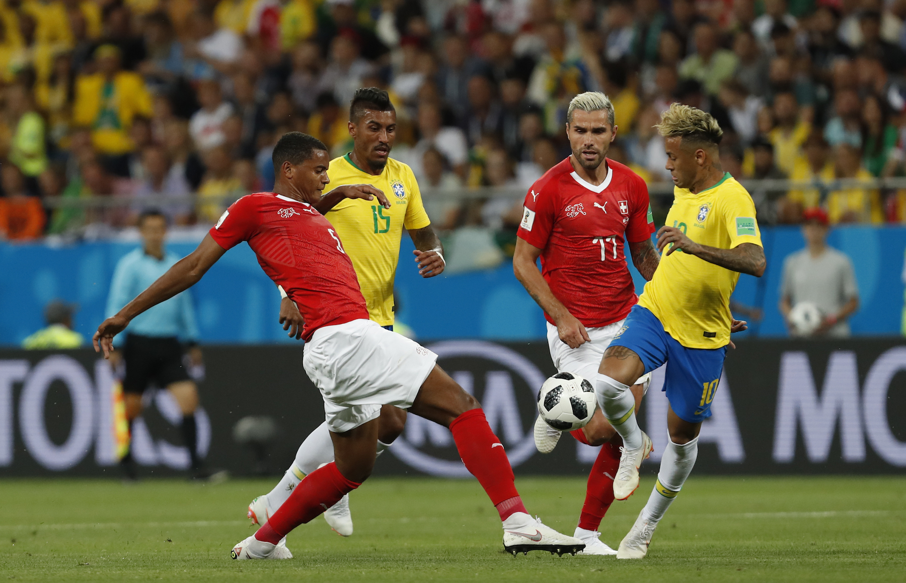 "<div class=""meta image-caption""><div class=""origin-logo origin-image ap""><span>AP</span></div><span class=""caption-text"">Brazil's Neymar, right, duels for the ball with Switzerland's Manuel Akanji during the group E match between Brazil and Switzerland at the 2018 soccer World Cup. (AP Photo/Darko Vojinovic)</span></div>"