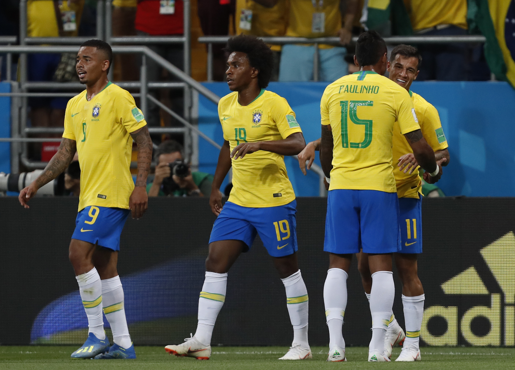 "<div class=""meta image-caption""><div class=""origin-logo origin-image ap""><span>AP</span></div><span class=""caption-text"">Brazil's Philippe Coutinho, right, celebrates after scoring with his teammate Paulinho during the group E match between Brazil and Switzerland at the 2018 soccer World Cup. (AP Photo/Darko Vojinovic)</span></div>"