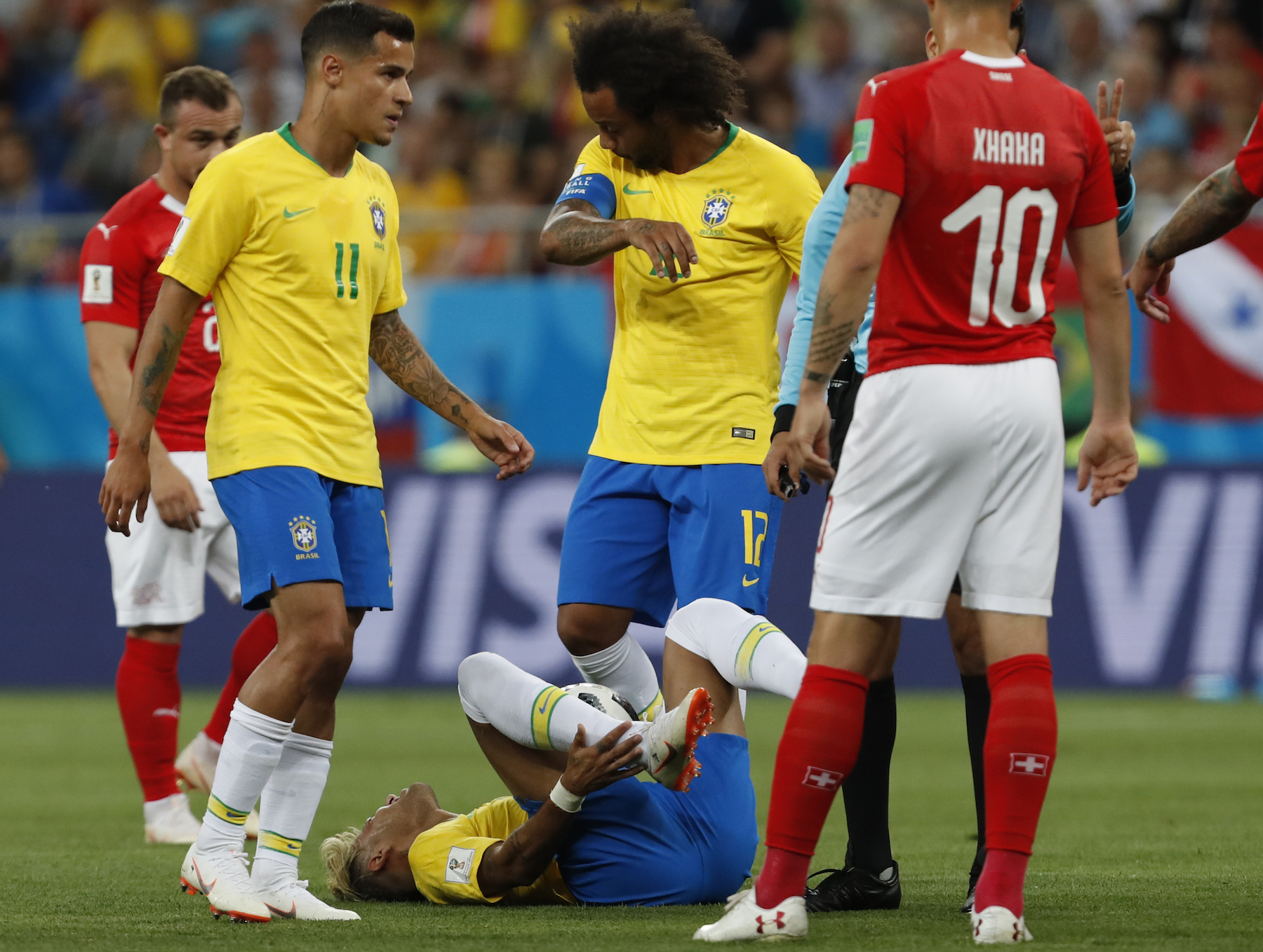 "<div class=""meta image-caption""><div class=""origin-logo origin-image ap""><span>AP</span></div><span class=""caption-text"">Brazil's Neymar lies on the ground during the group E match between Brazil and Switzerland at the 2018 soccer World Cup in the Rostov Arena in Rostov-on-Don, Russia. (AP Photo/Darko Vojinovic)</span></div>"