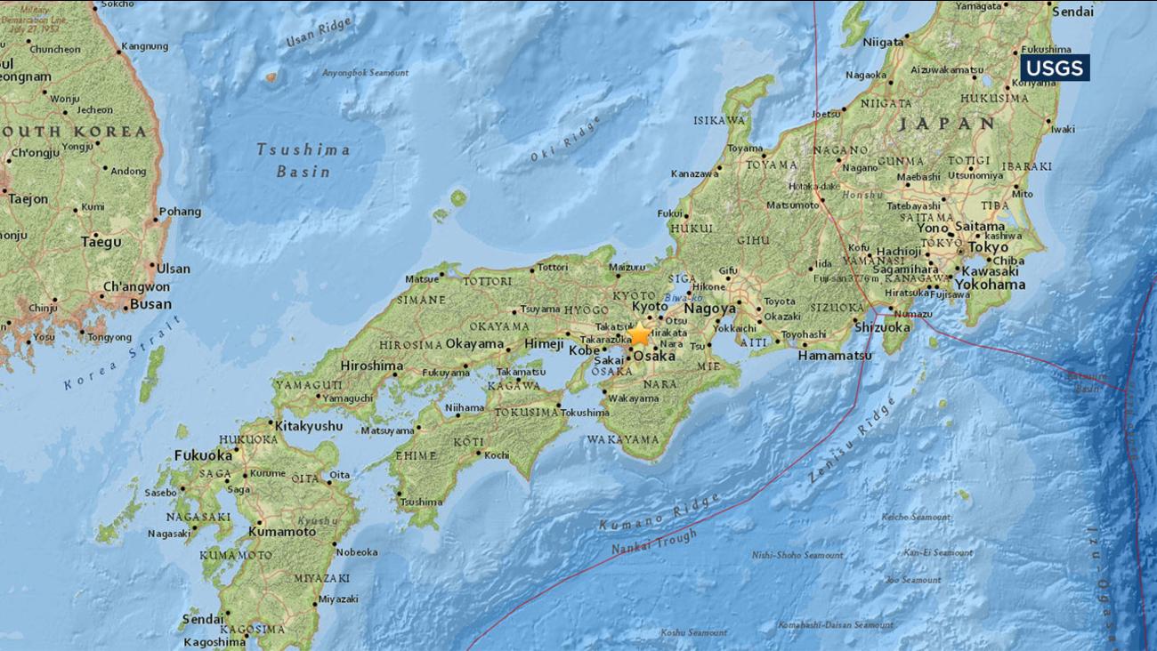 A magnitude 6.1 earthquake struck north of Osaka in western Japan.