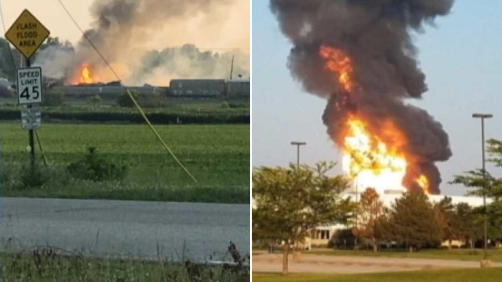 VIDEO: Indiana train derailment leads to explosion, emergency