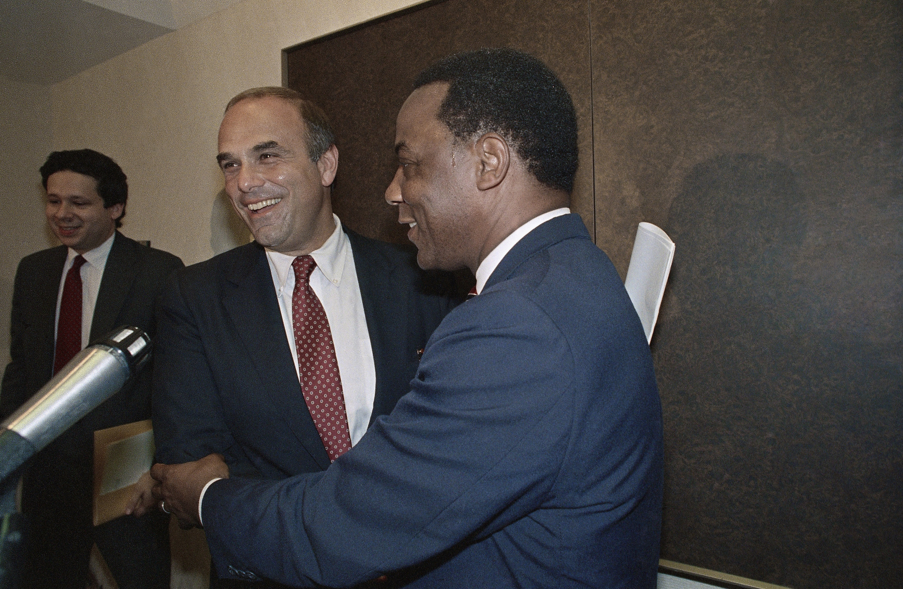 "<div class=""meta image-caption""><div class=""origin-logo origin-image ap""><span>AP</span></div><span class=""caption-text"">Rendell and Philadelphia Mayor W. Wilson Goode share smiles at a press conference in 1987. (ASSOCIATED PRESS)</span></div>"