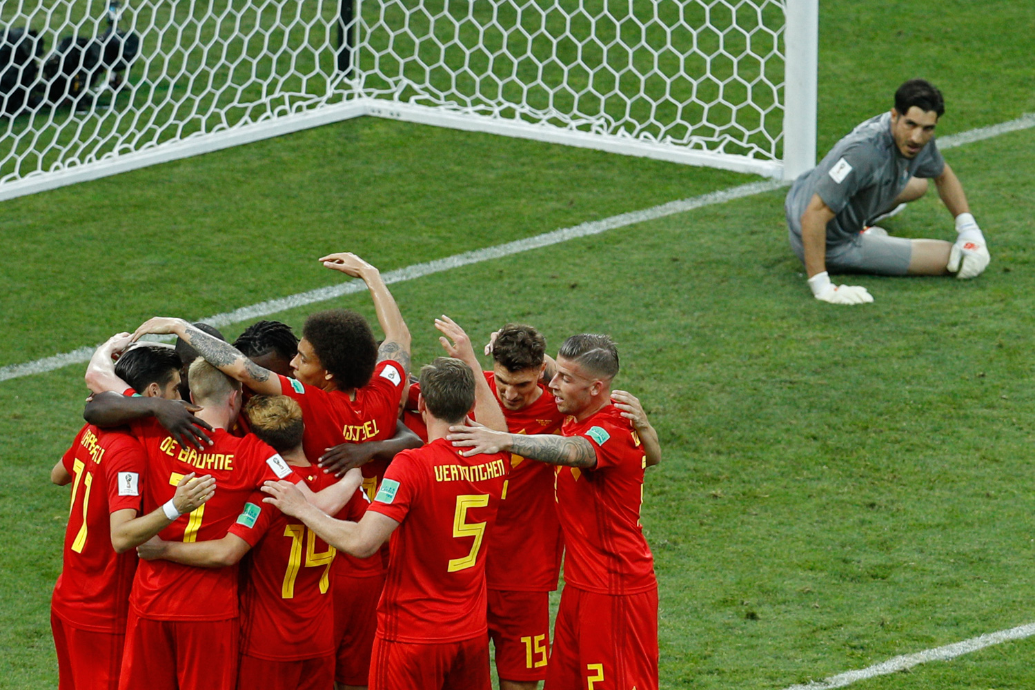 <div class='meta'><div class='origin-logo' data-origin='none'></div><span class='caption-text' data-credit='Victor R. Caivano/AP Photo'>Belgium players celebrate their side's second goal as Panama goalkeeper Jaime Penedo, right, looks at them during the group G match between Belgium and Panama</span></div>