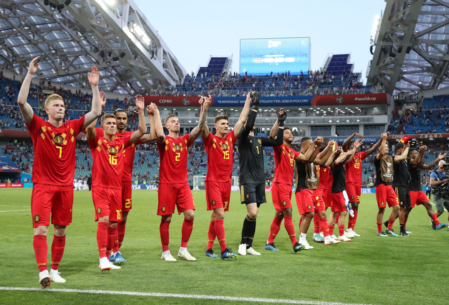<div class='meta'><div class='origin-logo' data-origin='none'></div><span class='caption-text' data-credit='Matthias Schrader/AP'>Belgium's team celebrates after winning the group G match between Belgium and Panama at the 2018 soccer World Cup</span></div>