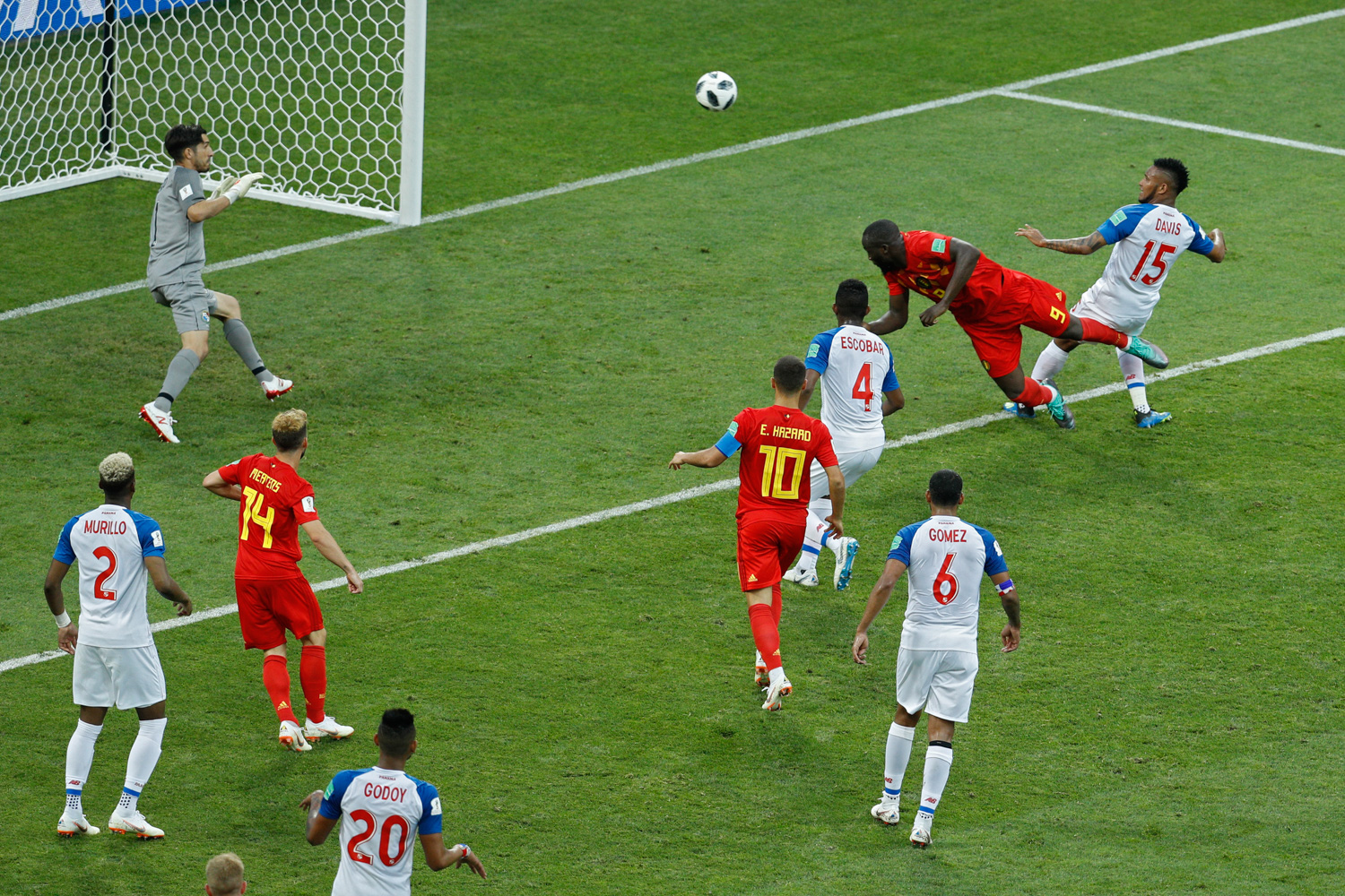 <div class='meta'><div class='origin-logo' data-origin='none'></div><span class='caption-text' data-credit='Victor R. Caivano/AP Photo'>Belgium's Romelu Lukaku, top second right, heads the ball to score his side's second goal during the group G match between Belgium and Panama</span></div>