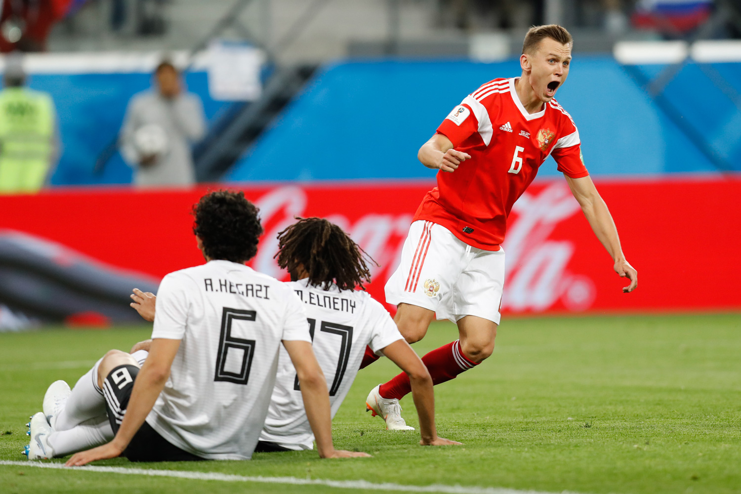 "<div class=""meta image-caption""><div class=""origin-logo origin-image none""><span>none</span></div><span class=""caption-text"">Russia's Denis Cheryshev celebrates after scoring his team second goal during the group A match between Russia and Egypt at the 2018 soccer World Cup in the St. Petersburg stadium (Efrem Lukatsky/AP)</span></div>"