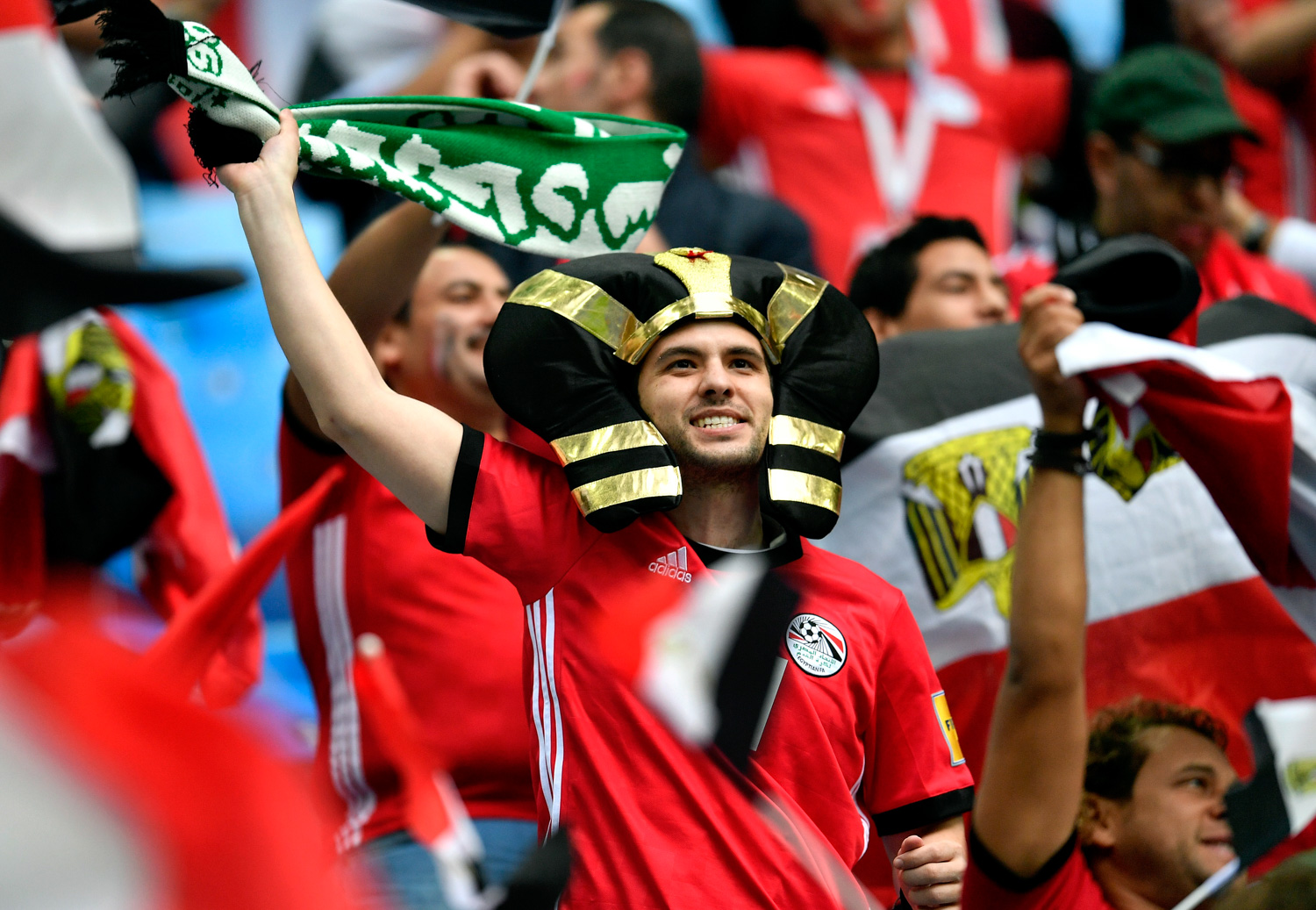 "<div class=""meta image-caption""><div class=""origin-logo origin-image none""><span>none</span></div><span class=""caption-text"">Supporters cheer prior the group A match between Russia and Egypt at the 2018 soccer World Cup in the St. Petersburg stadium (Martin Meissner/AP)</span></div>"