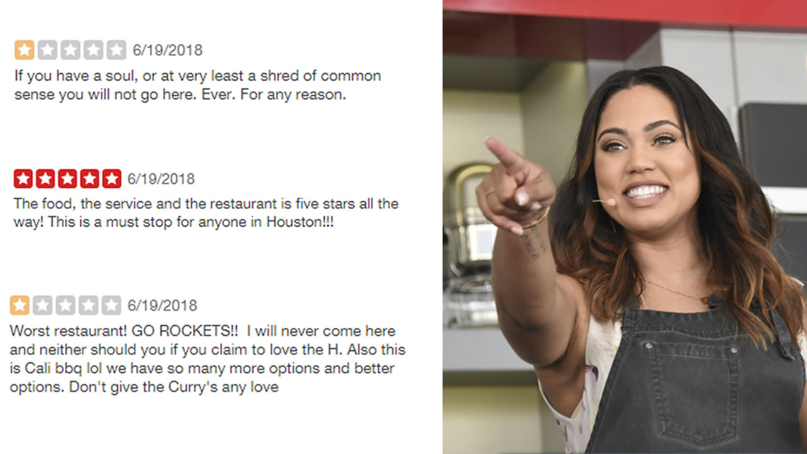 ab051fd22d40 Rockets fans are hardcore trolling the Yelp page for Ayesha Curry s  restaurant and Warriors fans aren t having it