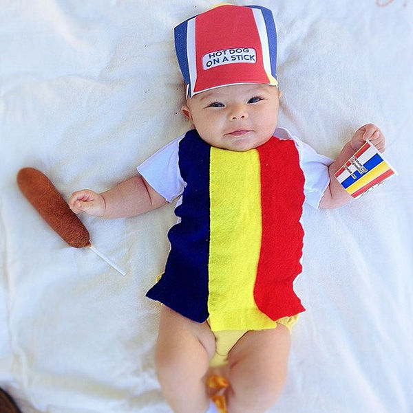 <div class='meta'><div class='origin-logo' data-origin='none'></div><span class='caption-text' data-credit='Gina Lee'>One of Willlow's first costumes -- a Hot Dog On A Stick employee.</span></div>