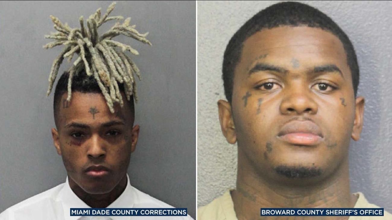(Left) Jahseh Onfroy, known as XXXTentacion, in a photo from the Miami-Dade County Corrections Office. (Right) DeDrick Williams in a photo from the Broward County Sheriff's Office.