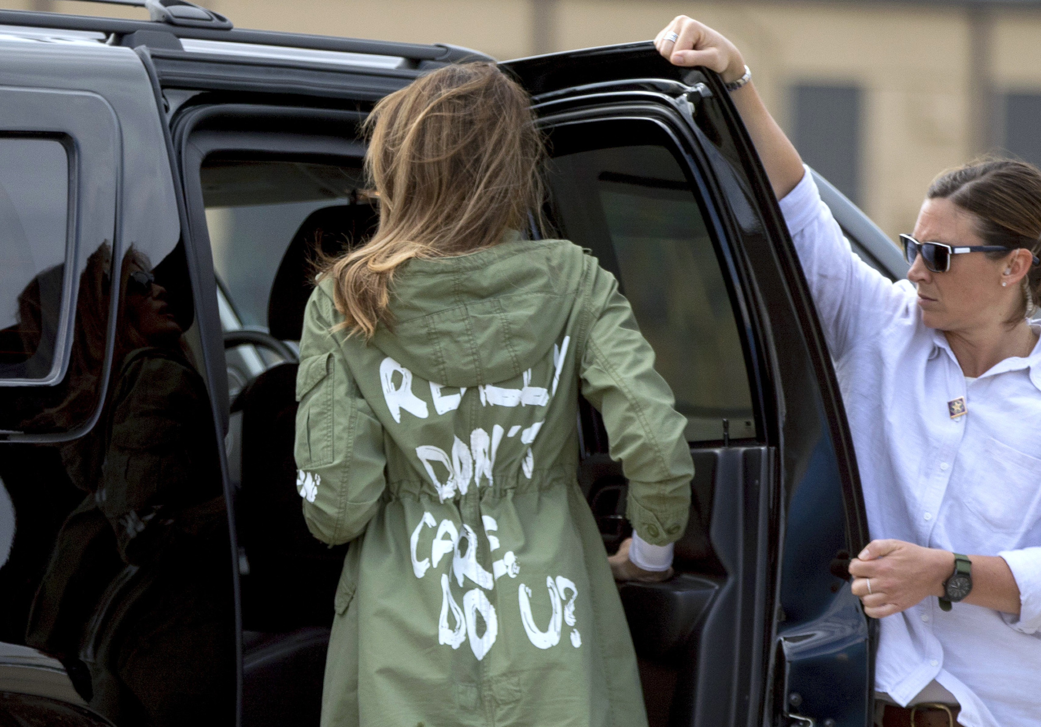 <div class='meta'><div class='origin-logo' data-origin='AP'></div><span class='caption-text' data-credit='AP'>First lady Melania Trump arrives at Andrews Air Force Base after visiting the Upbring New Hope Children Center run in McAllen, Texas. (AP Photo/Andrew Harnik)</span></div>