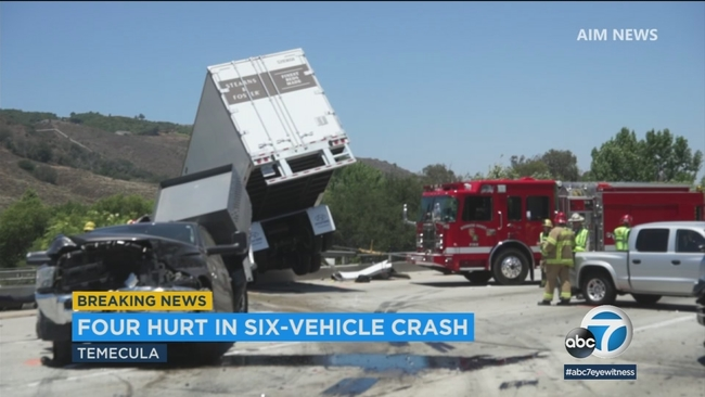 car accident on 15 freeway  4 injured in 6-vehicle crash on 15 Freeway in Temecula | abc7.com