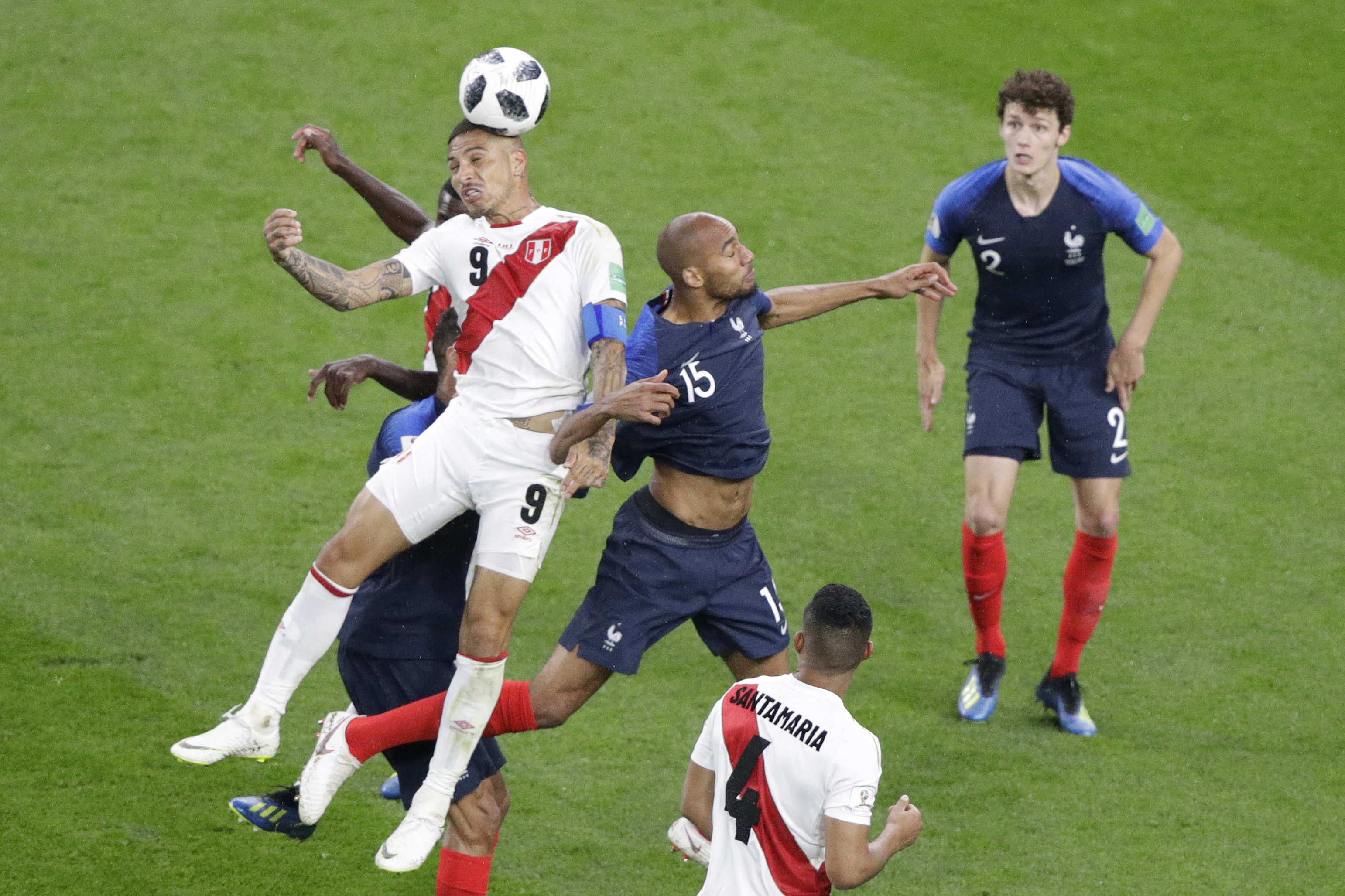 "<div class=""meta image-caption""><div class=""origin-logo origin-image none""><span>none</span></div><span class=""caption-text"">Peru's Paolo Guerrero, left, and France's Steven Nzonzi challenge for the ball during the group C match between France and Peru in the Yekaterinburg Arena on Thursday, June 21. (Mark Baker/AP Photo)</span></div>"