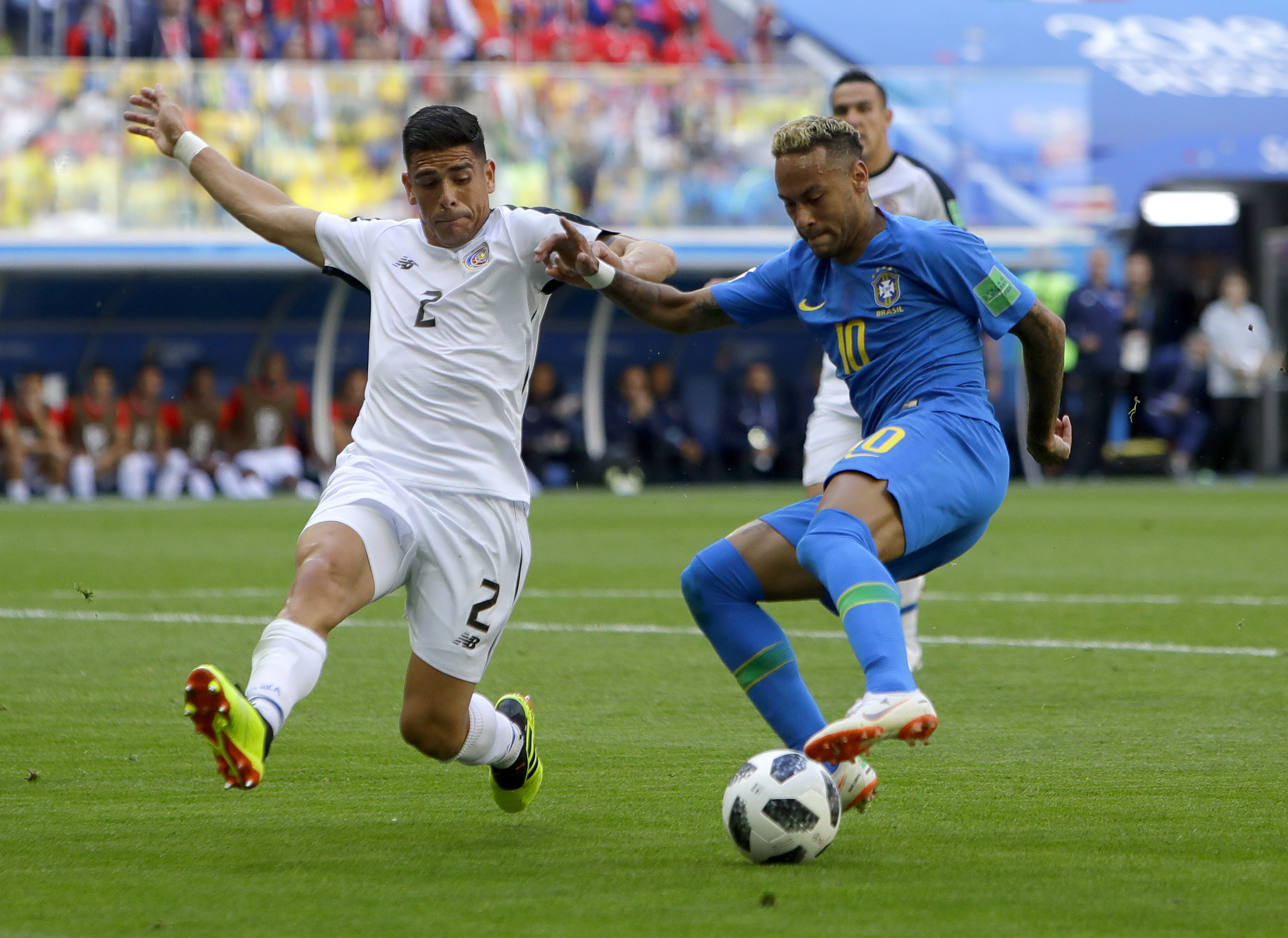 "<div class=""meta image-caption""><div class=""origin-logo origin-image none""><span>none</span></div><span class=""caption-text"">Brazil's Neymar, right, looks to kick the ball past Costa Rica's Johnny Acosta during the group E match in the St. Petersburg Stadium on Friday, June 22. (Alastair Grant/AP Photo)</span></div>"