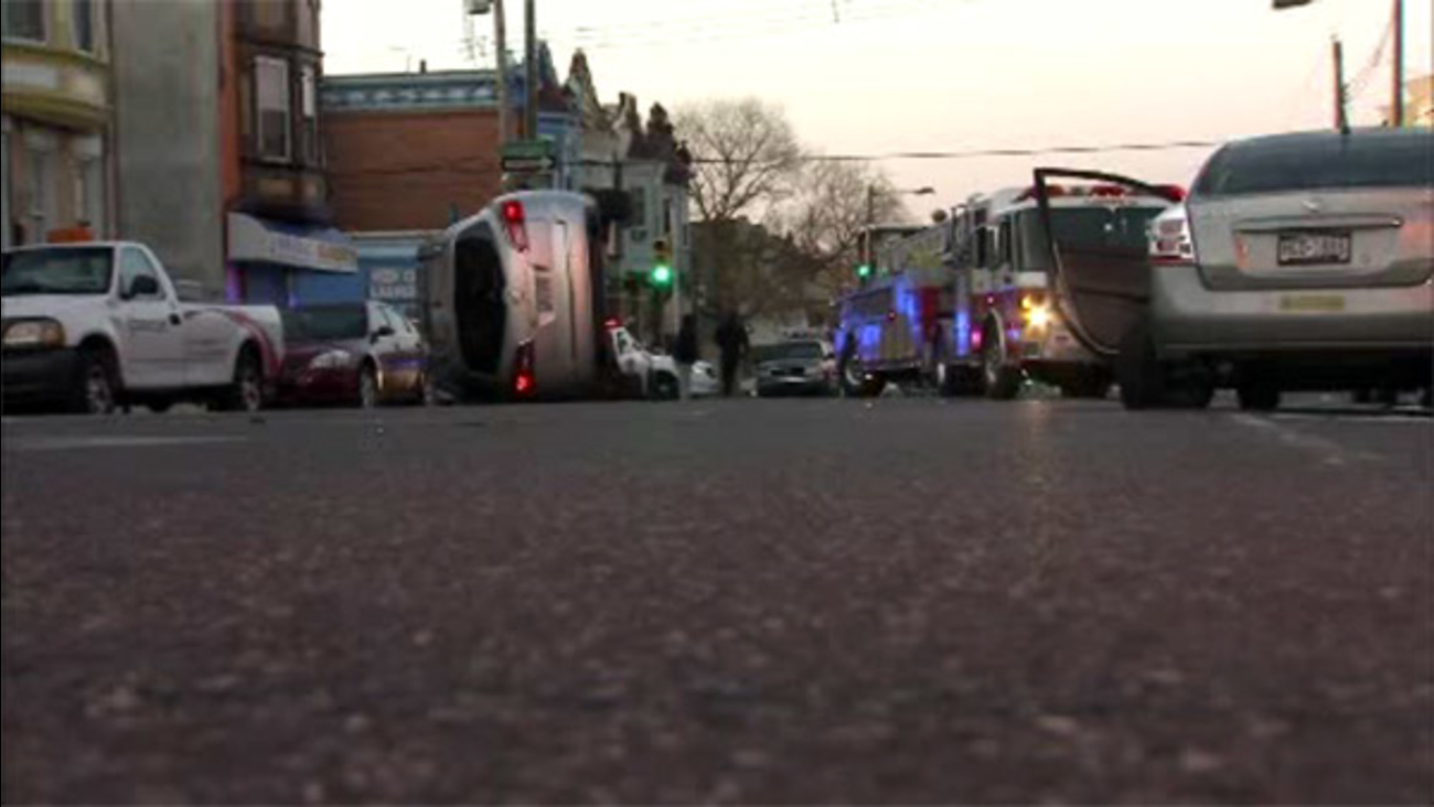 Suv Hits Parked Car Rolls Over In Strawberry Mansion 6abc Com