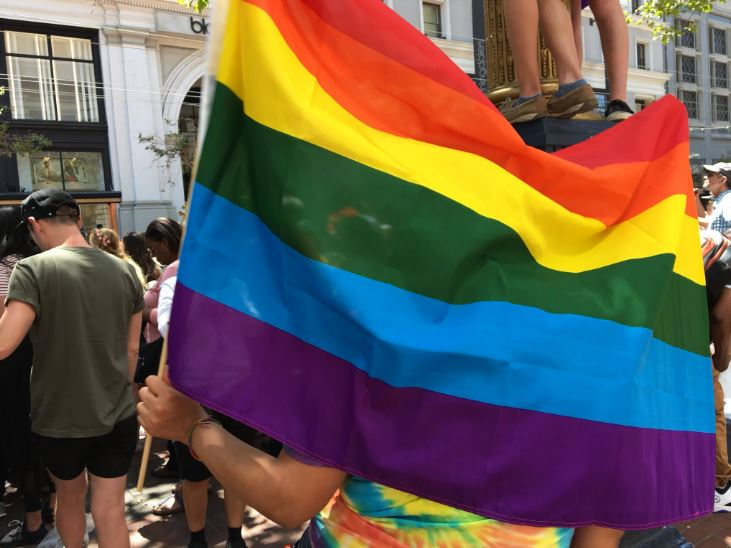 """<div class=""""meta image-caption""""><div class=""""origin-logo origin-image none""""><span>none</span></div><span class=""""caption-text"""">A flag is seen during the Pride Parade in San Francisco on Sunday, June 24, 2018.</span></div>"""