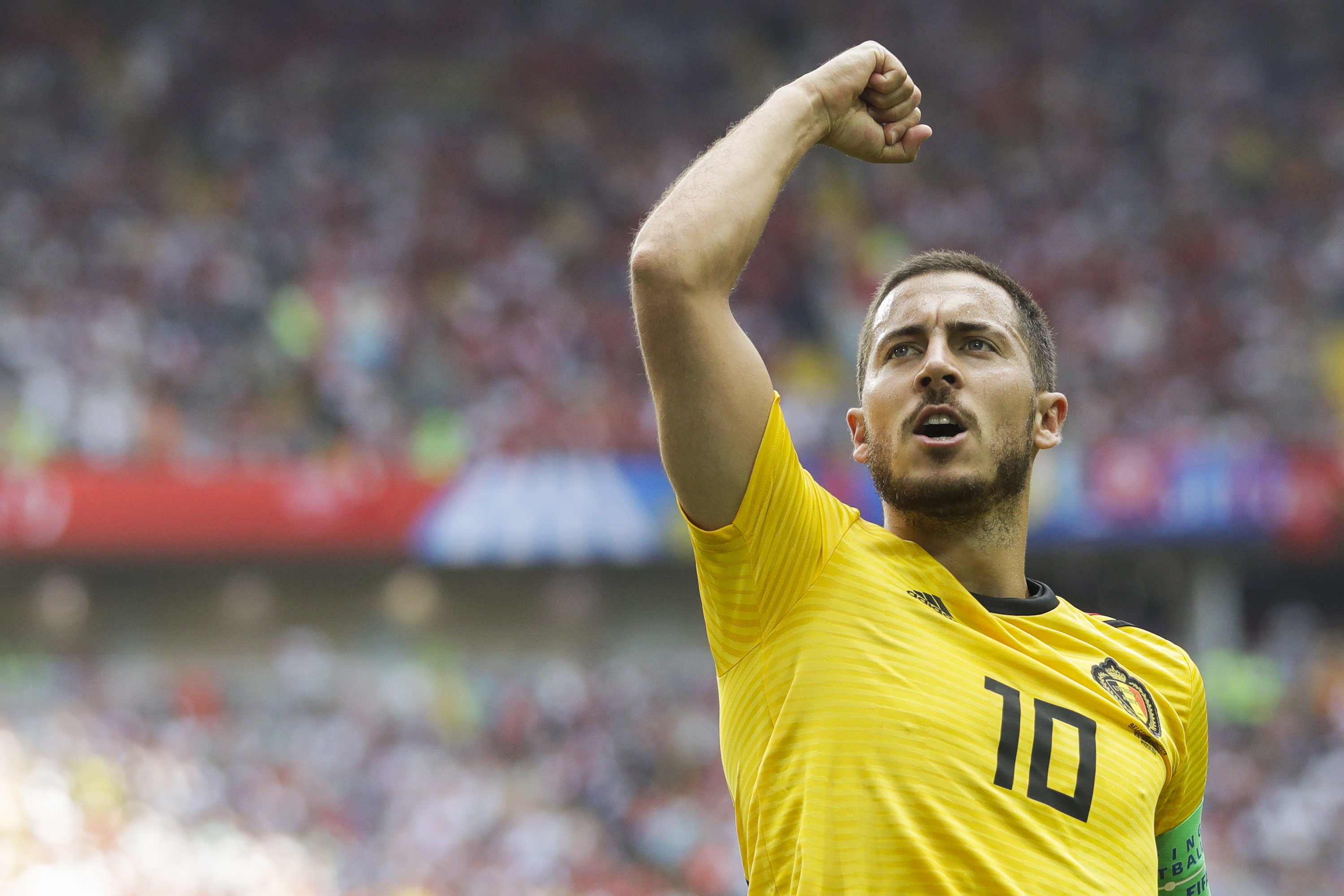 <div class='meta'><div class='origin-logo' data-origin='none'></div><span class='caption-text' data-credit='Matthias Schrader/AP Photo'>Belgium's Eden Hazard celebrates after scoring his side's fourth goal during the group G match between Belgium and Tunisia in the Spartak Stadium in Moscow, Saturday, June 23.</span></div>