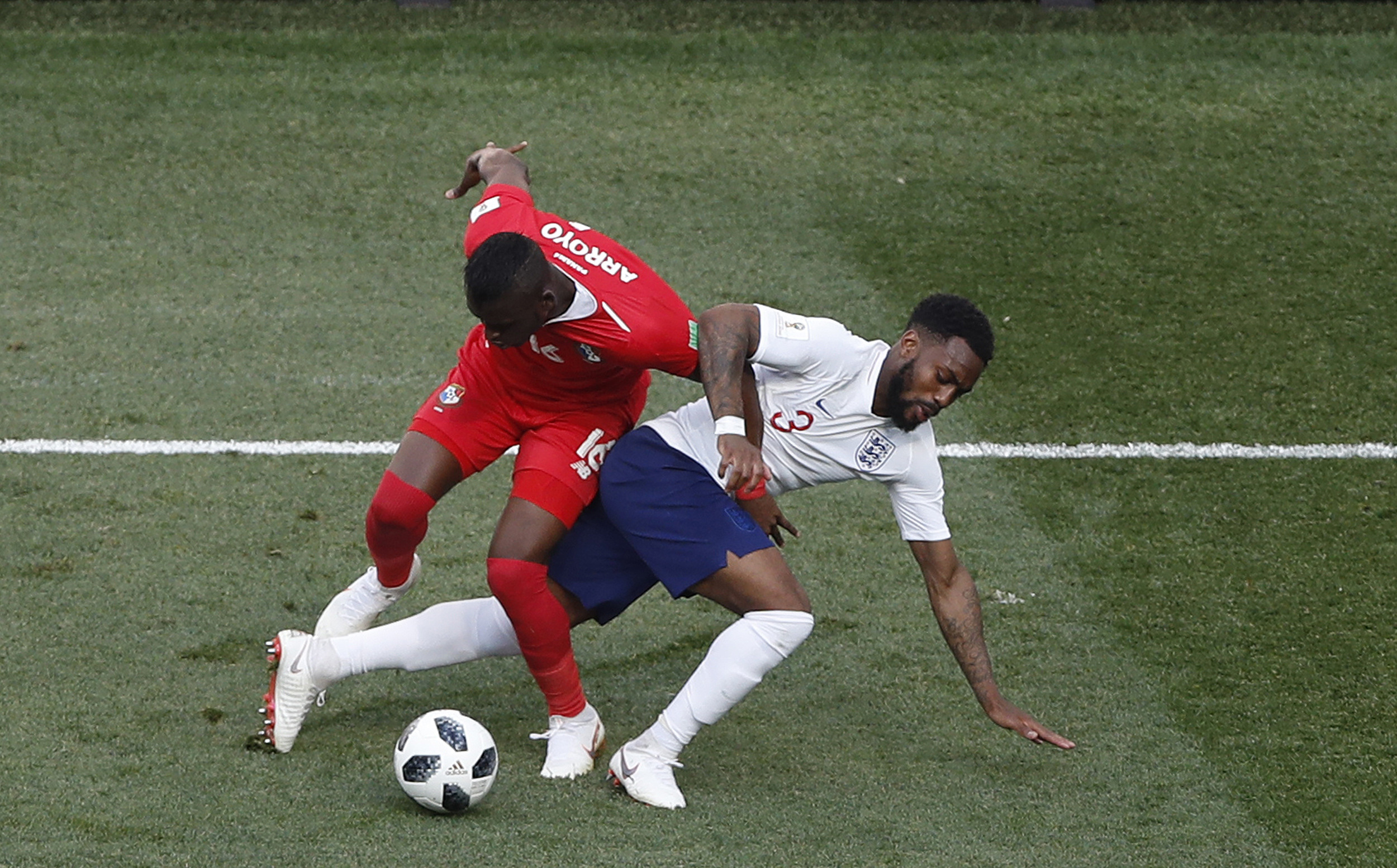 <div class='meta'><div class='origin-logo' data-origin='none'></div><span class='caption-text' data-credit='Darko Bandic/AP Photo'>Panama's Abdiel Arroyo, and England's Danny Rose fight for the ball during the group G match at the Nizhny Novgorod Stadium in Nizhny Novgorod, Russia, Sunday, June 24, 2018.</span></div>