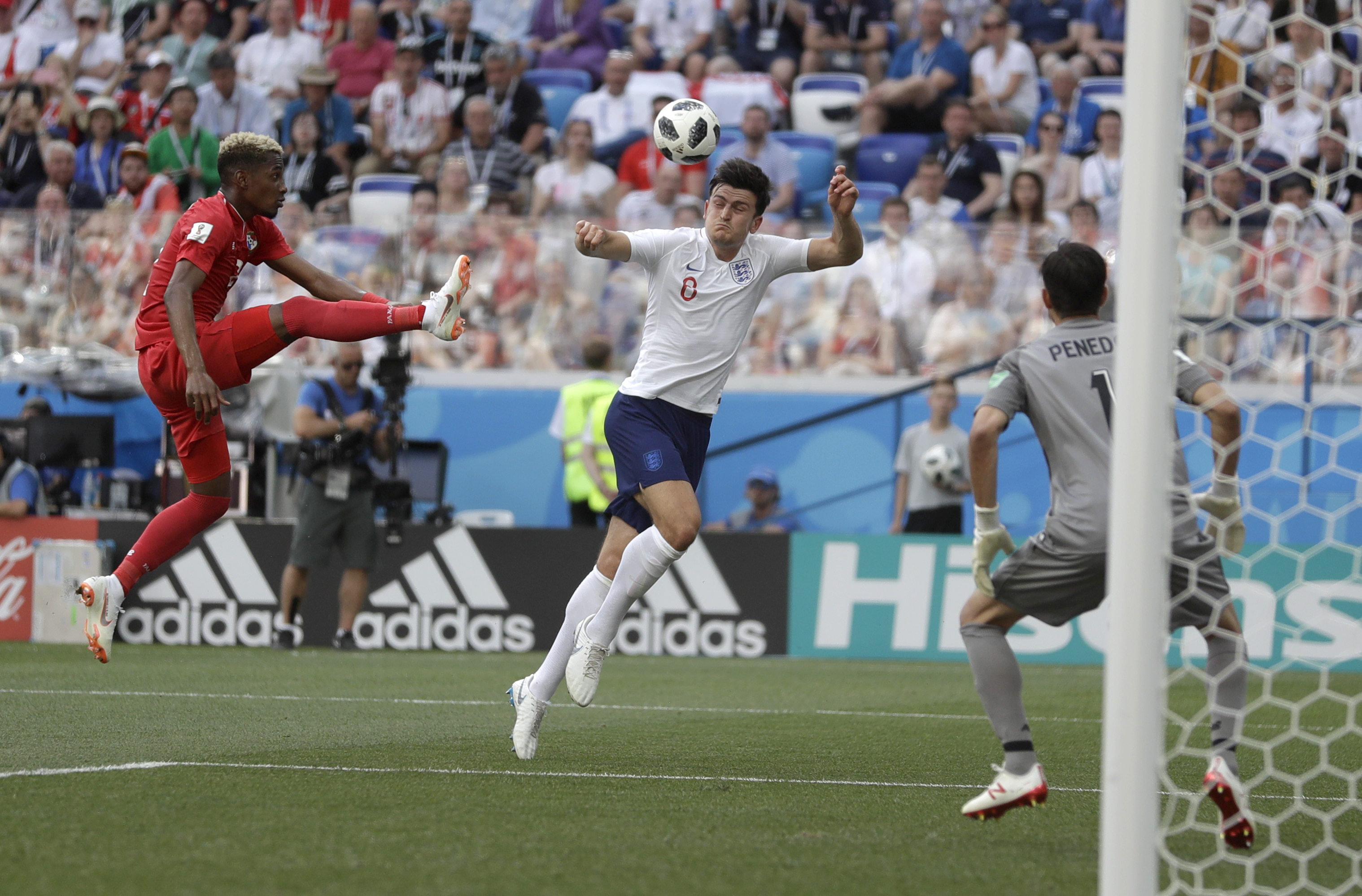 <div class='meta'><div class='origin-logo' data-origin='none'></div><span class='caption-text' data-credit='Matthias Schrader/AP Photo'>Panama's Michael Murillo, left, kicks the ball clear of England's Harry Maguire during the group G match at the Nizhny Novgorod Stadium on Sunday, June 24, 2018.</span></div>