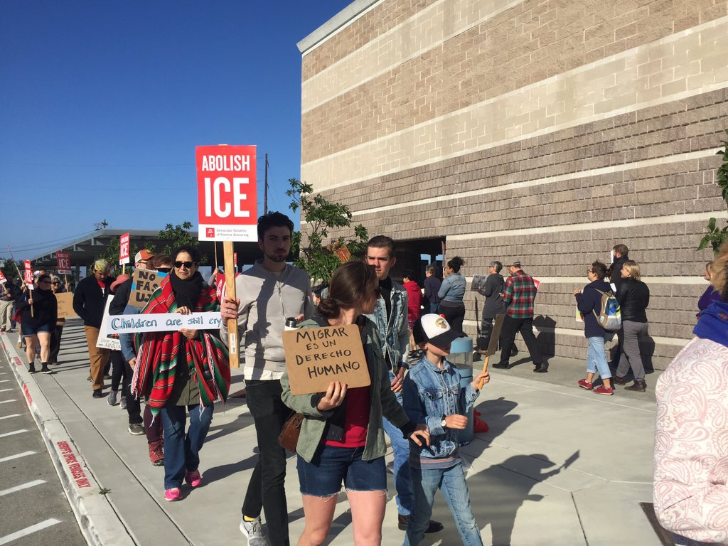 "<div class=""meta image-caption""><div class=""origin-logo origin-image none""><span>none</span></div><span class=""caption-text"">Protests rally in front of a detention center housing ICE detainees on Tuesday, June 26, 2018 in Richmond, Calif. (KGO-TV)</span></div>"