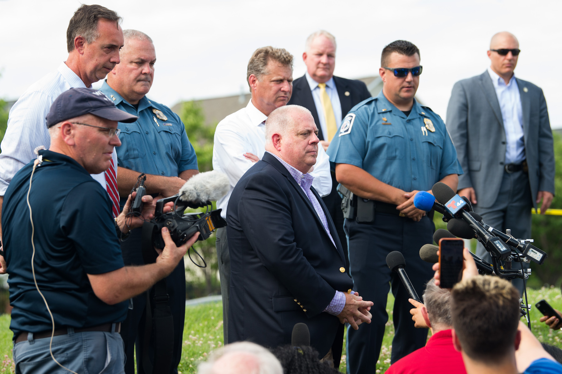 <div class='meta'><div class='origin-logo' data-origin='Creative Content'></div><span class='caption-text' data-credit='Saul Loeb/AFP/Getty Images'>Maryland Governor Larry Hogan (C) speaks during a press conference following a shooting in Annapolis, Maryland, June 28, 2018.</span></div>
