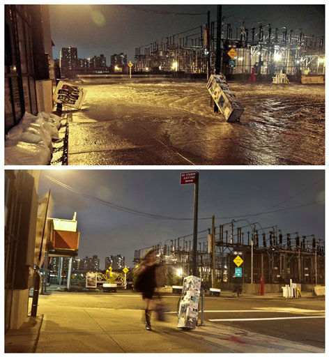 "<div class=""meta image-caption""><div class=""origin-logo origin-image ""><span></span></div><span class=""caption-text"">This combination of Oct. 29, 2012 and Oct. 17, 2013 photos shows the flooded streets around a Con Edison power substation as the East River overflows (AP Photo/Bebeto Matthews)</span></div>"