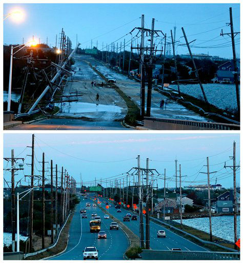 "<div class=""meta image-caption""><div class=""origin-logo origin-image ""><span></span></div><span class=""caption-text"">This combination of Oct. 30, 2012 and Oct. 22, 2013 photos shows downed power lines and a battered road smashed in Seaside Heights. (AP Photo/Julio Cortez)</span></div>"