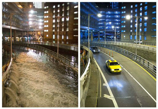 "<div class=""meta image-caption""><div class=""origin-logo origin-image ""><span></span></div><span class=""caption-text"">This combination of Oct. 29, 2012 and Oct. 20, 2013 photos shows sea water flooding the entrance to the Brooklyn Battery Tunnel. (AP Photo/John Minchillo)</span></div>"