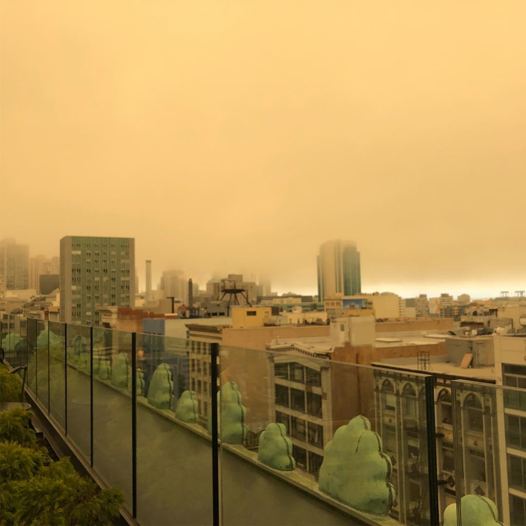 <div class='meta'><div class='origin-logo' data-origin='none'></div><span class='caption-text' data-credit='Photo submitted to KGO-TV by j.haha/Instagram'>The Bay Area sky was bathed in an orange glow on Saturday, June 30, 2018 and Sunday, July 1, 2018.</span></div>