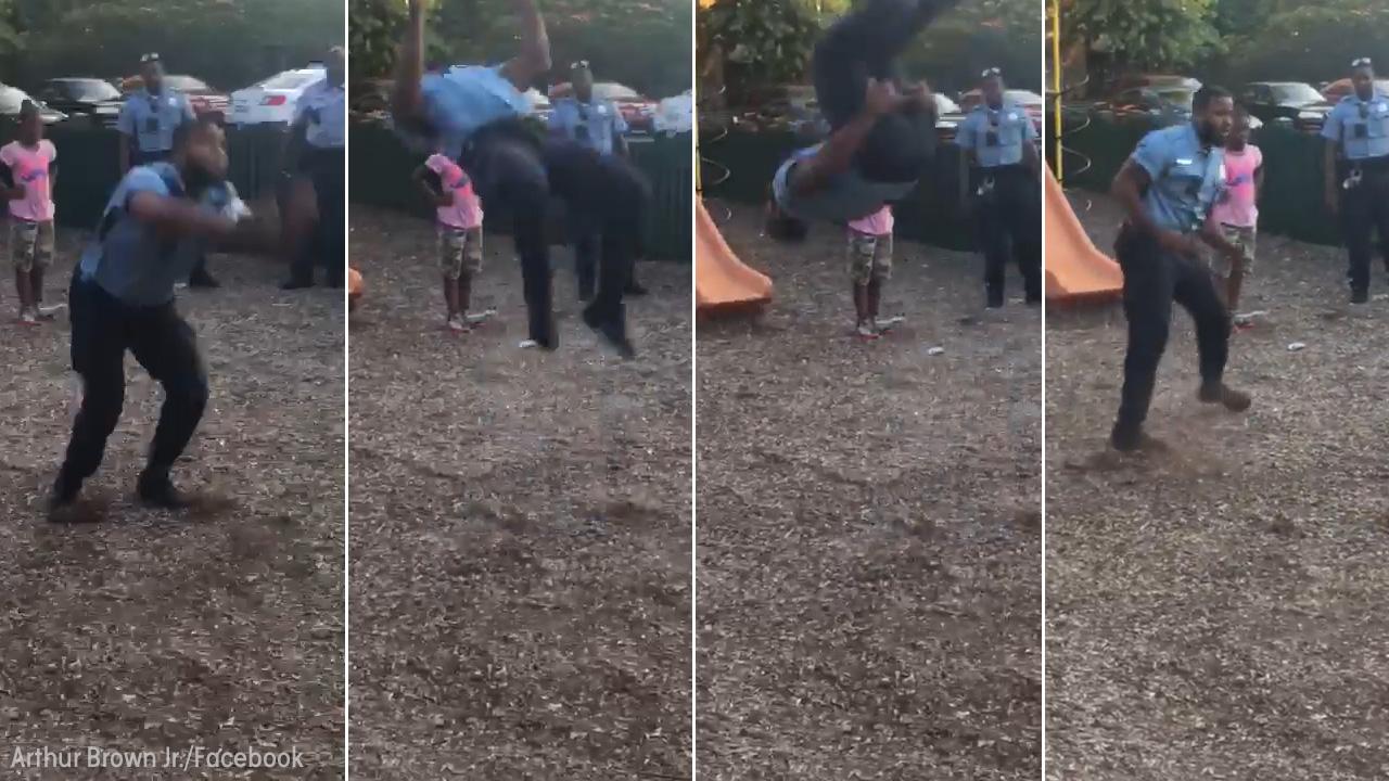 California cop swings fist at girl