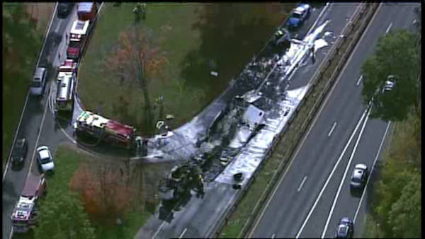 Tractor-trailer carrying butter crashes on Merritt Parkway