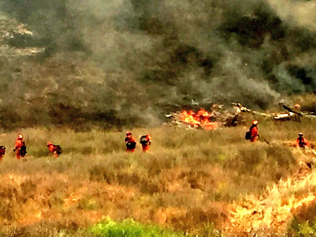 <div class='meta'><div class='origin-logo' data-origin='none'></div><span class='caption-text' data-credit='KGO-TV'>Fire crews draw the line on the County Fire at Knoxville-Berryessa Rd. on Monday, July 2, 2018.</span></div>