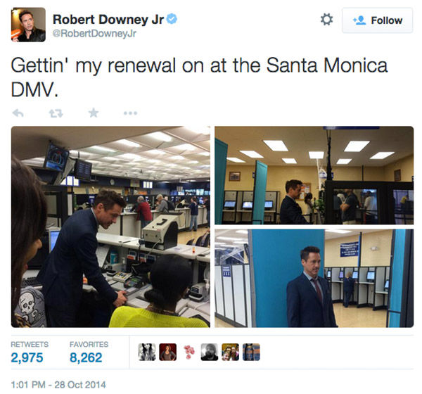 "<div class=""meta image-caption""><div class=""origin-logo origin-image ""><span></span></div><span class=""caption-text"">Robert Downey Jr. AKA 'Iron Man' visited the DMV in Santa Monica, CA October 28 to renew his driver's license. (RobertDowneyJr/Twitter)</span></div>"