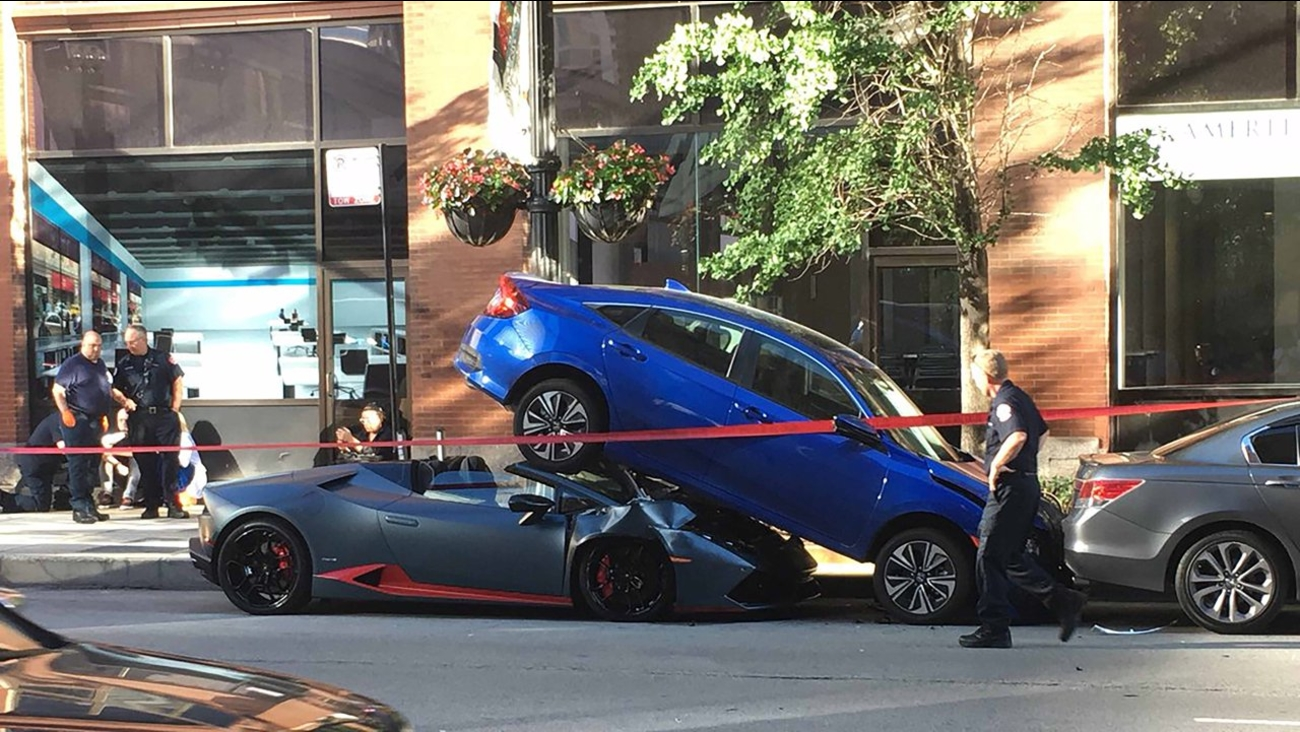 Lamborghini Wedged Beneath Car In West Loop Crash Nobody Injured