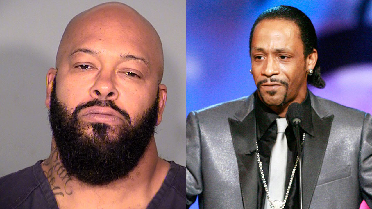 """Suge"" Knight LVPD 10/29/14 booking photo (L); ""Katt"" Williams undated file photo (R)"