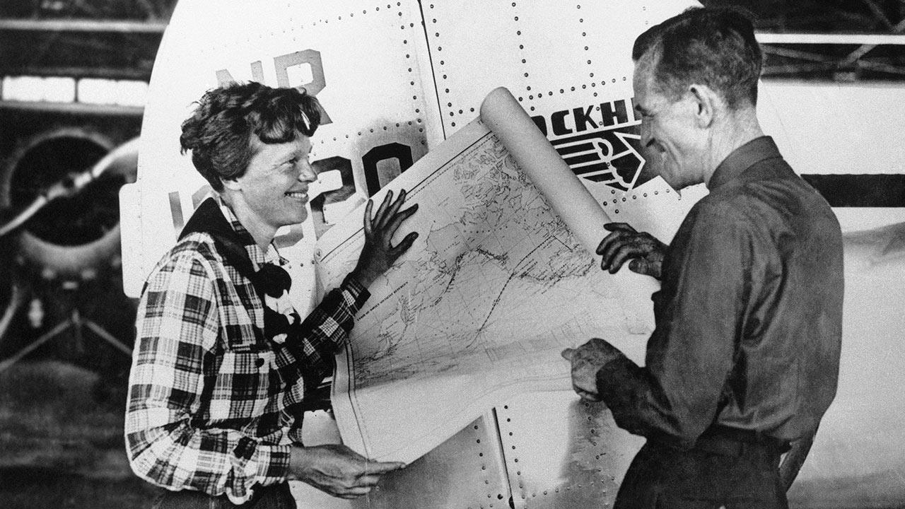 Amelia Earhart, left, and navigator Fred Noonan