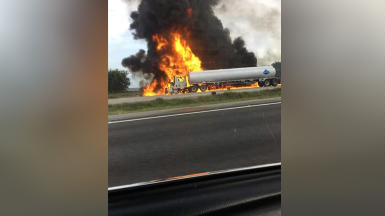 Tanker fire shuts down Highway 59 in both directions after