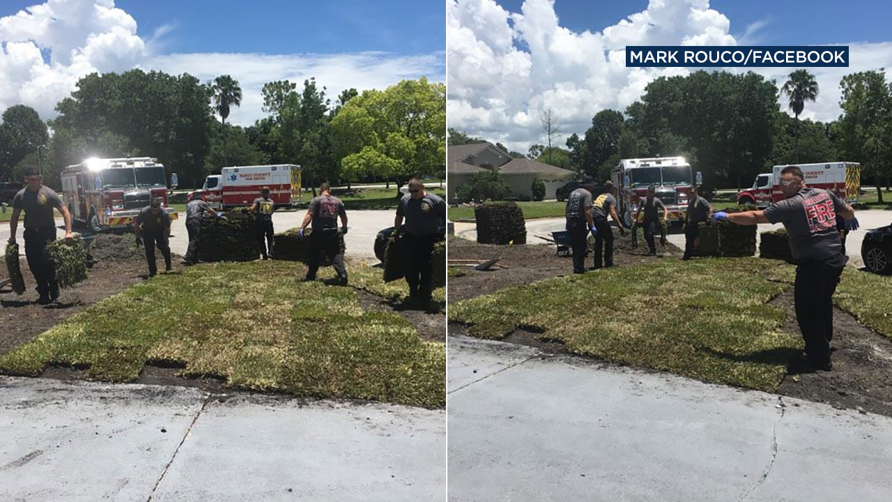 A Florida man who suffered a heart attack is thanking first responders for not only saving his life, but for helping him finish his yard work.