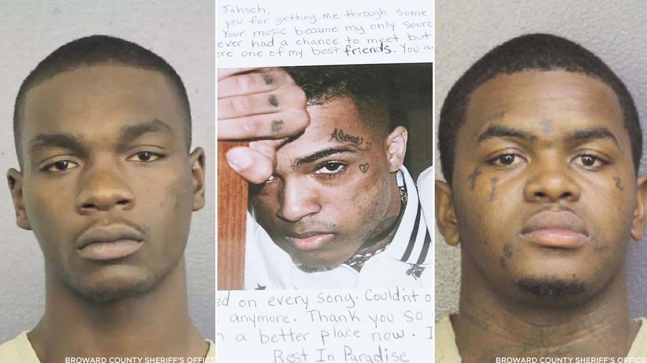 Michael Boatwright, left, and Dedrick Devonshay Williams, right, are seen in photos from the Broward County Sheriff's Office (Center) A fan's letter for XXXTentacion. (AP Photo)