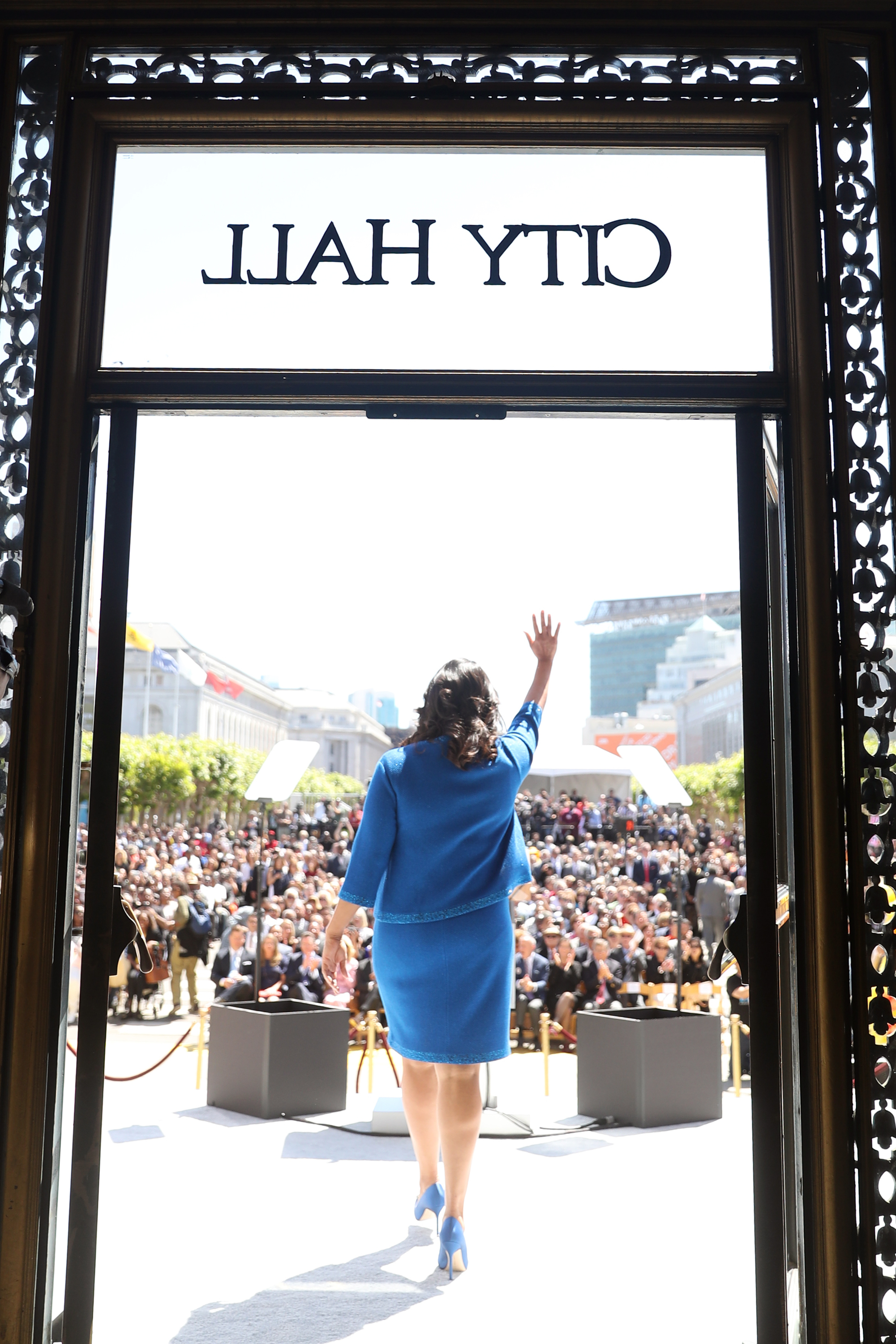 <div class='meta'><div class='origin-logo' data-origin='none'></div><span class='caption-text' data-credit='The Chronicle'>San Francisco Mayor London Breed walks out of City Hall for her inauguration in San Francisco, Calif. on Wednesday, July 11, 2018.</span></div>