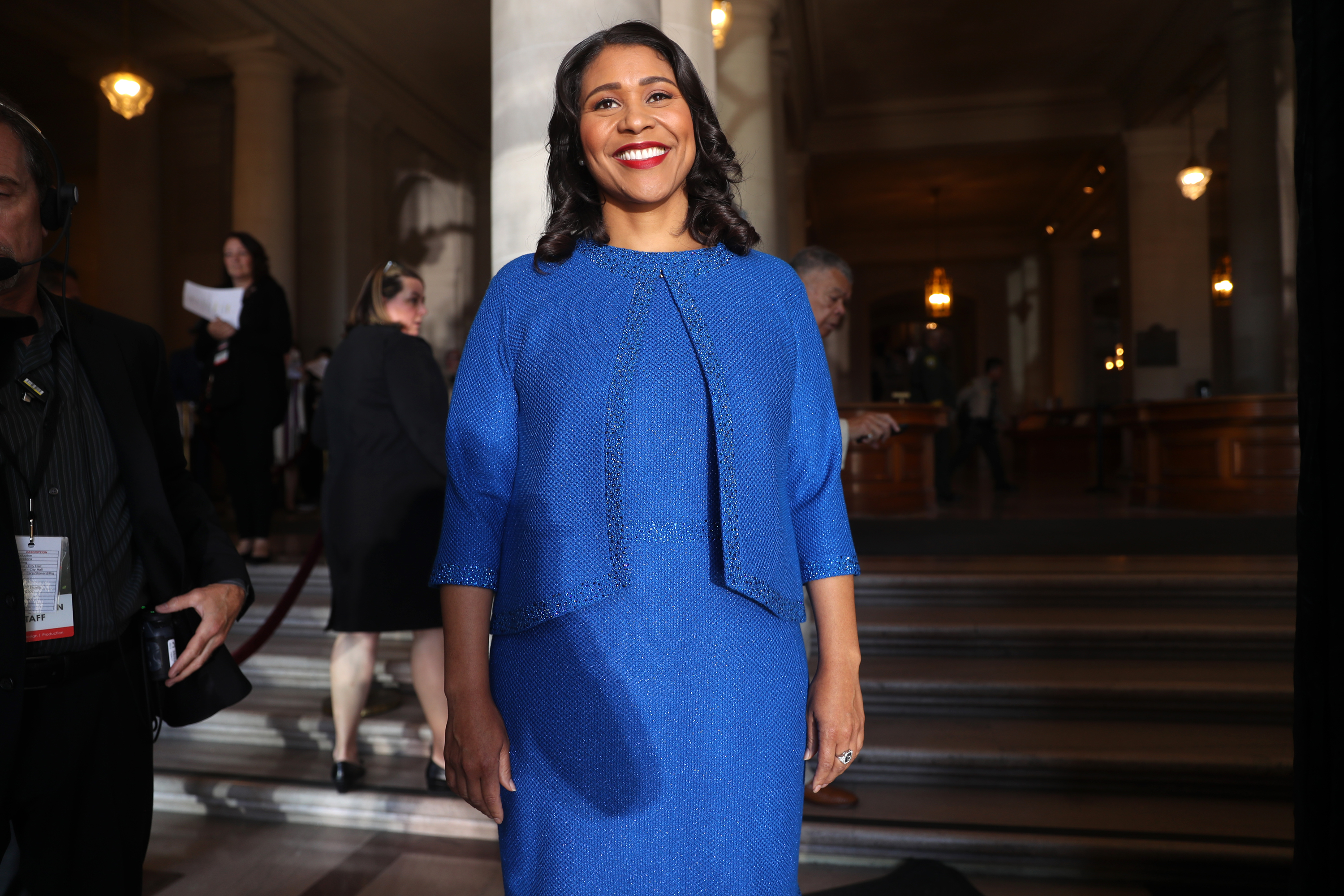 <div class='meta'><div class='origin-logo' data-origin='none'></div><span class='caption-text' data-credit='The Chronicle'>San Francisco Mayor London Breed waits to walk out of City Hall for her inauguration in San Francisco, Calif. on Wednesday, July 11, 2018.</span></div>