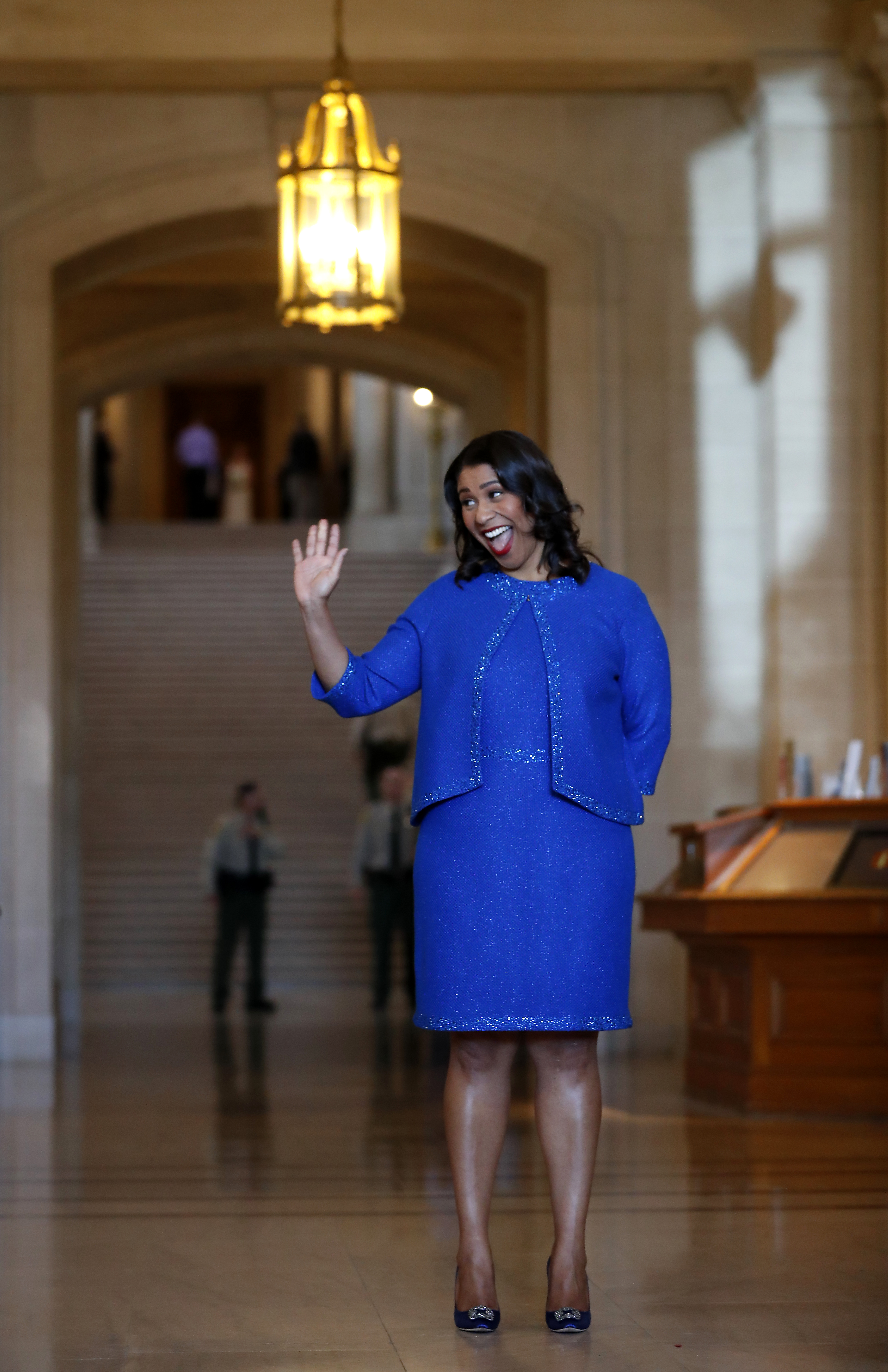 <div class='meta'><div class='origin-logo' data-origin='none'></div><span class='caption-text' data-credit='The Chronicle'>London Breed waves to the crowd during her inauguration ceremony on Wednesday, July 11, 2018, in San Francisco.</span></div>